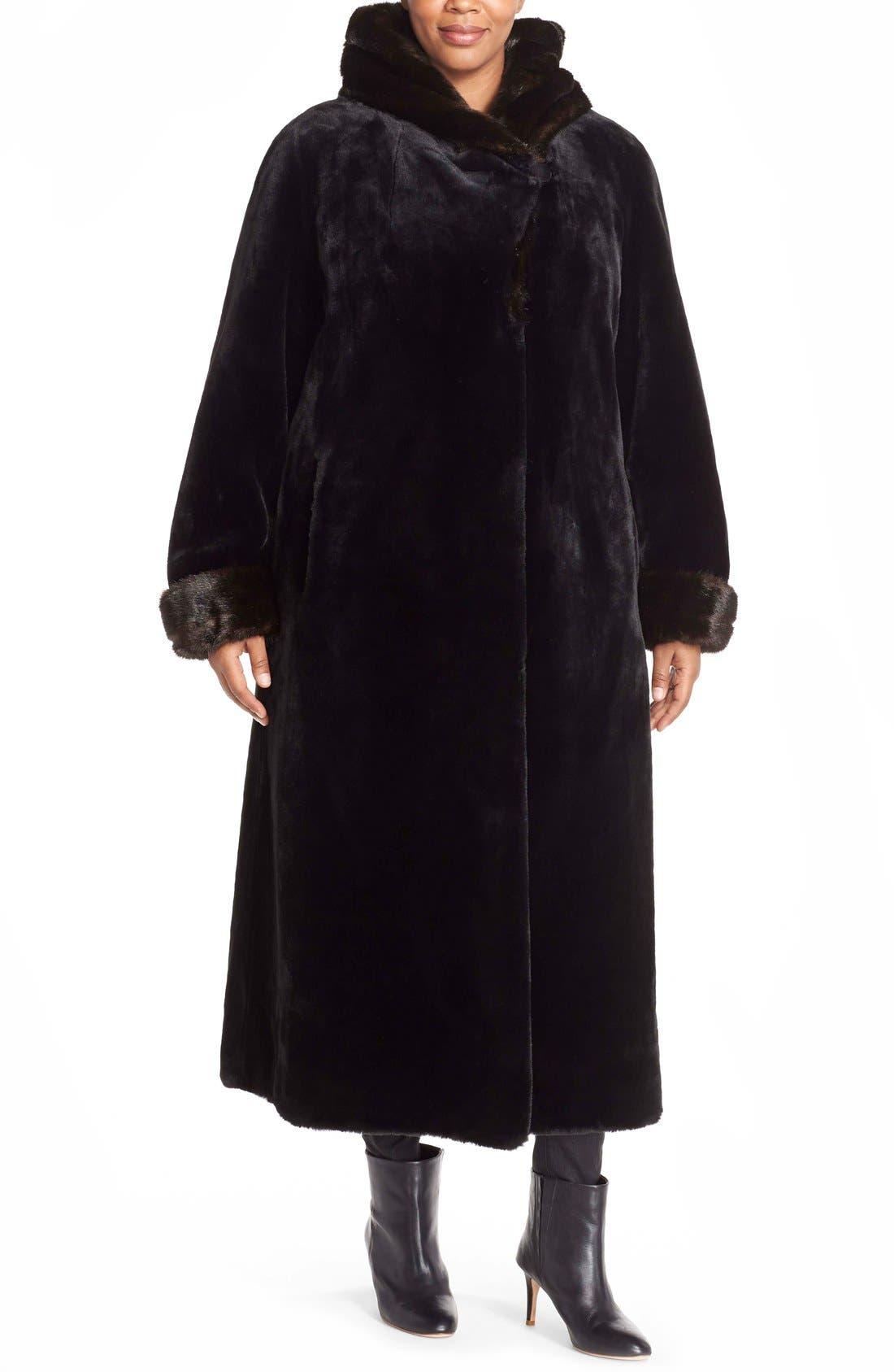 Gallery Hooded Full Length Faux Fur Coat Plus Size