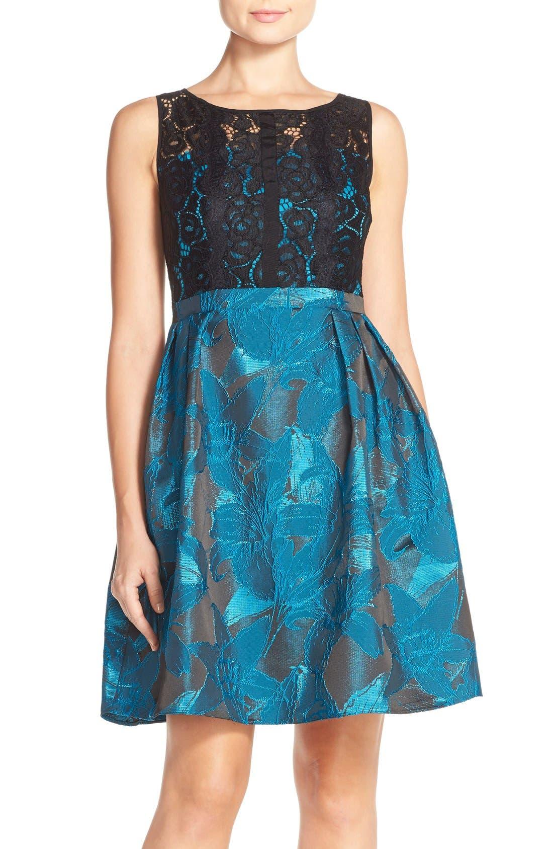 Main Image - Adrianna Papell Lace Jacquard Fit & Flare Dress (Regular & Petite)