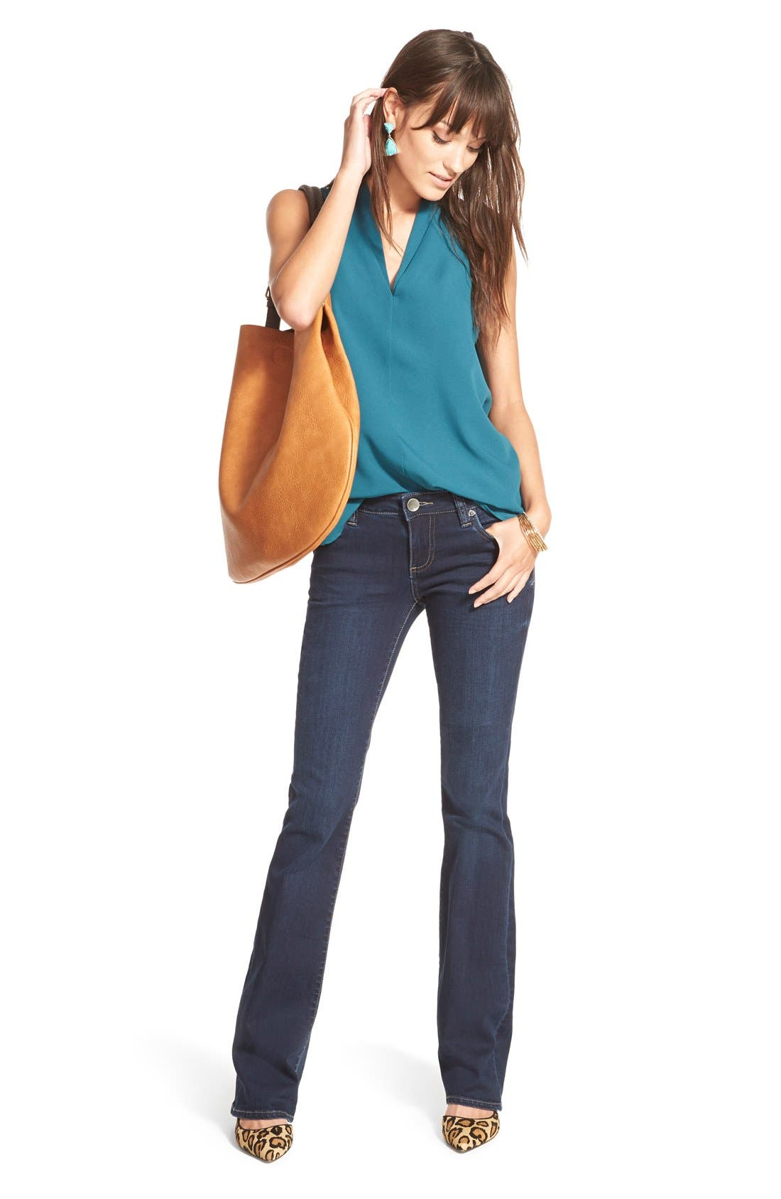 'Natalie' Stretch Bootcut Jeans,                             Alternate thumbnail 4, color,                             Beneficial