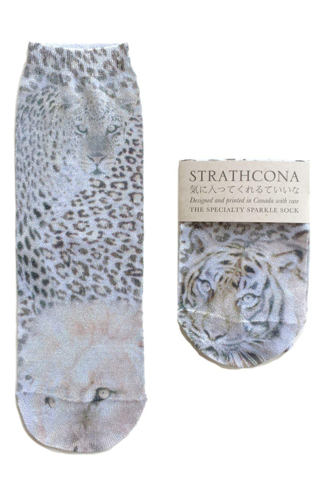 Alternate Image 1 Selected - StrathconaGraphic Metallic Anklet Socks