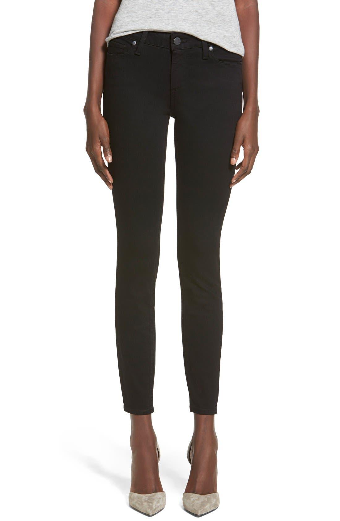 Main Image - PAIGE Transcend - Verdugo Ankle Ultra Skinny Jeans (Black Shadow)