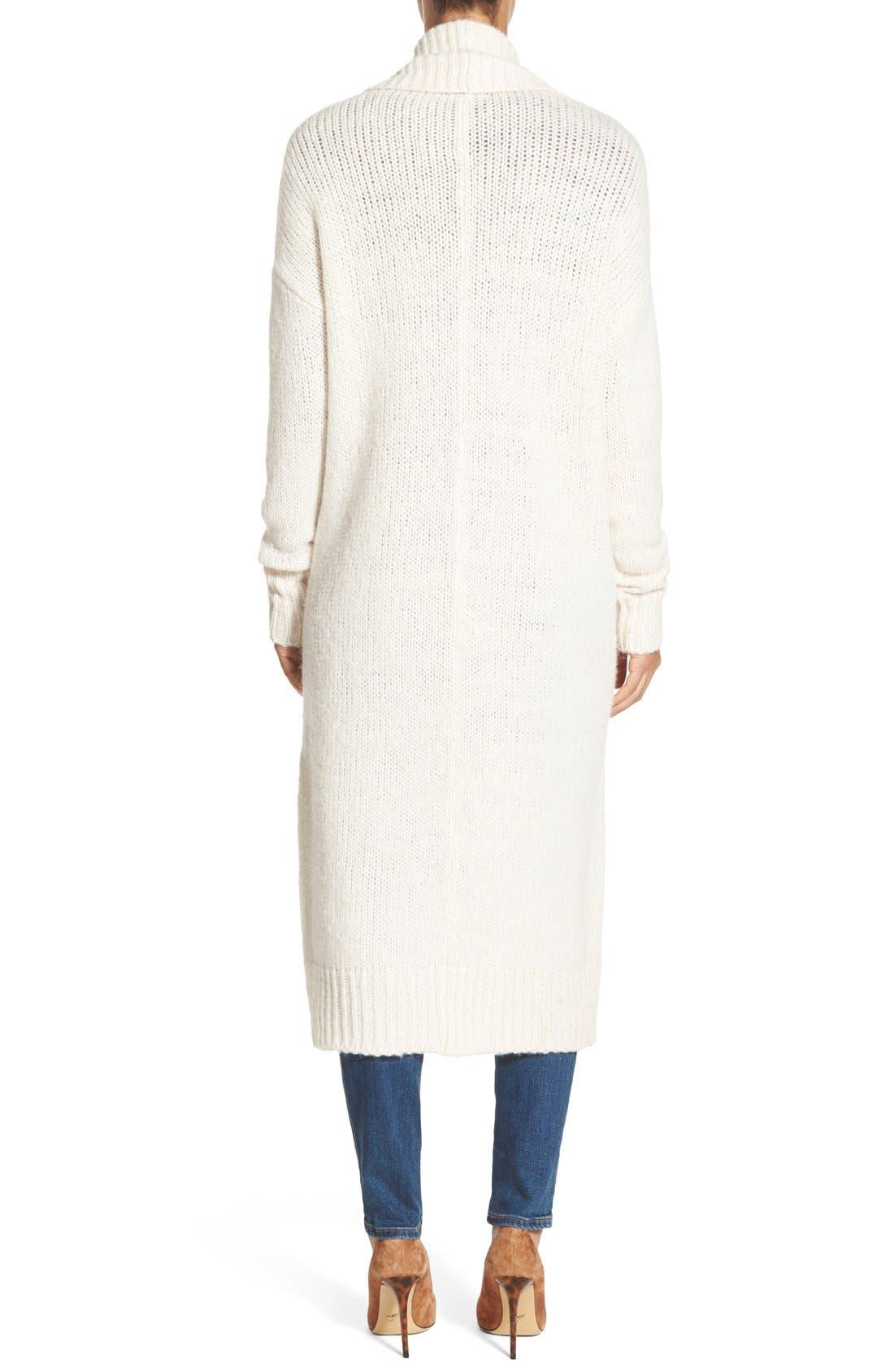 Long Merino Wool Blend Cardigan,                             Alternate thumbnail 2, color,                             Heather Oatmeal