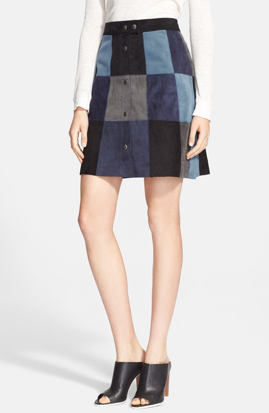 Alternate Image 1 Selected - Sea Patchwork Suede Skirt