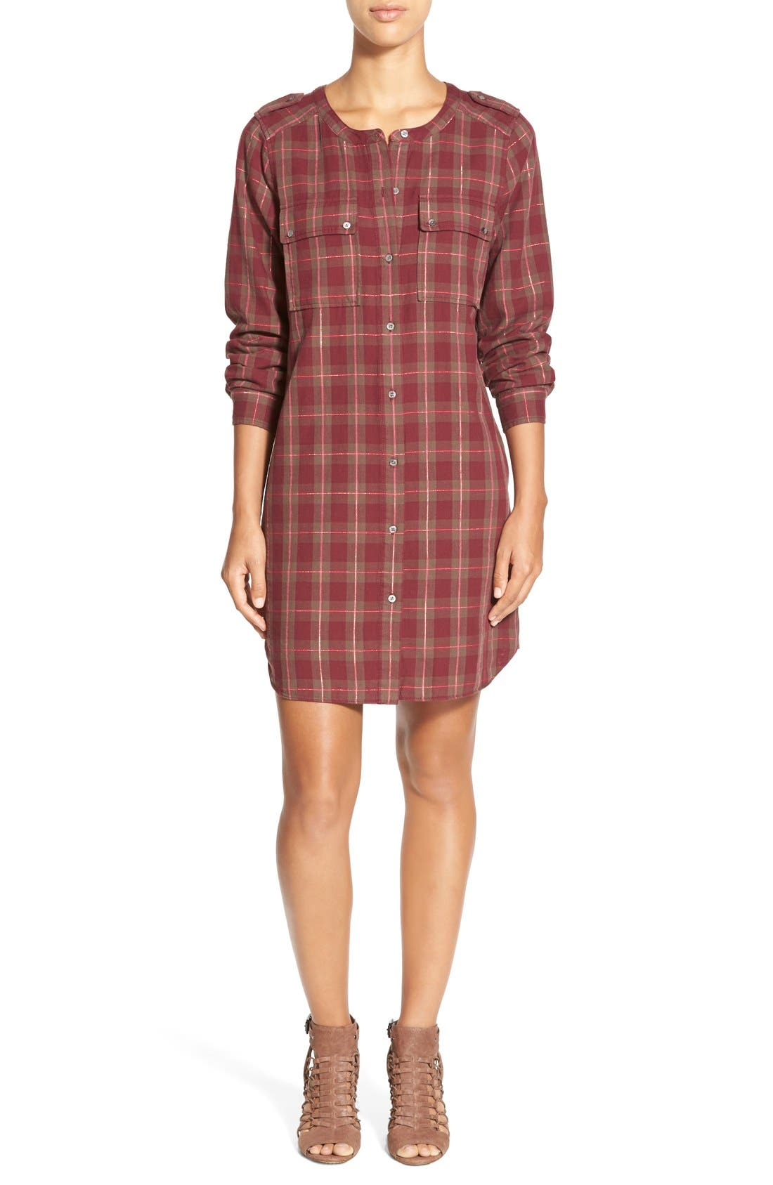 Main Image - Two by Vince Camuto Plaid Collarless Shirtdress