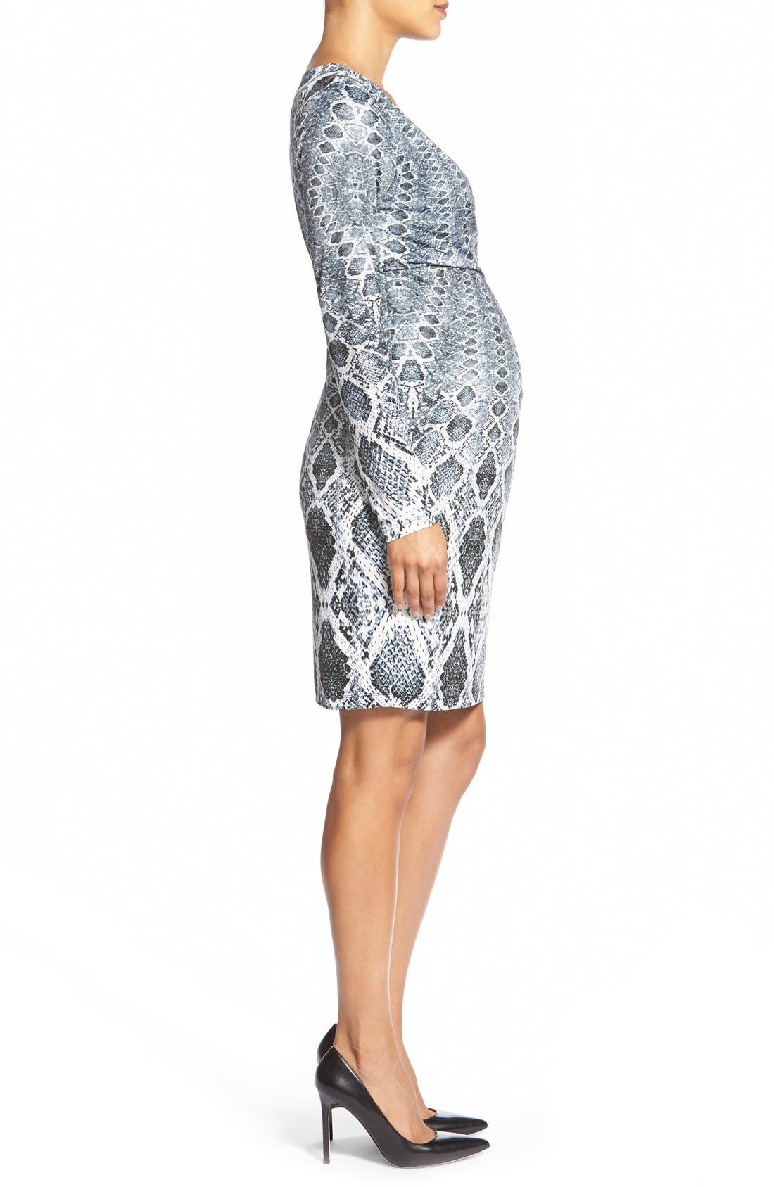 'April' Print Jersey Maternity Dress,                             Alternate thumbnail 3, color,                             Python Border