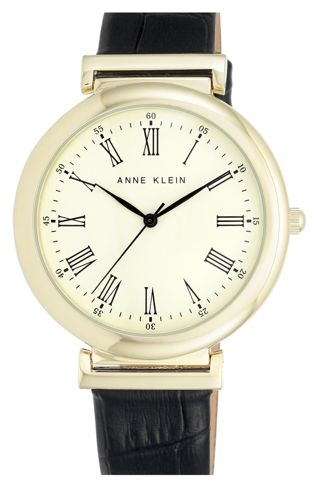 Main Image - Anne Klein Embossed Leather Strap Watch, 42mm