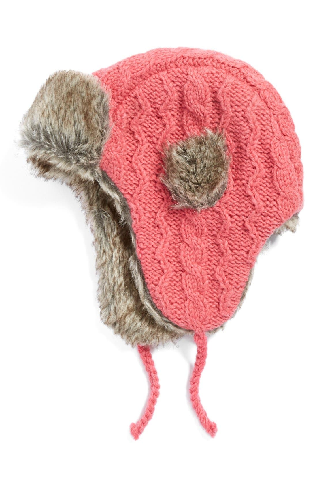 Alternate Image 1 Selected - NirvannaDesigns Cable Knit Ear Flap Hat with FauxFur Trim