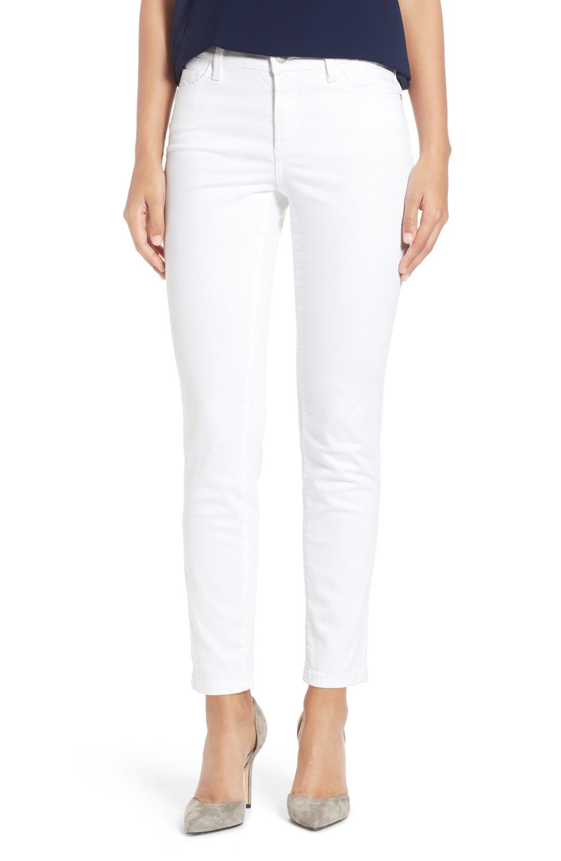 Alina Colored Stretch Ankle Skinny Jeans,                         Main,                         color, Optic White