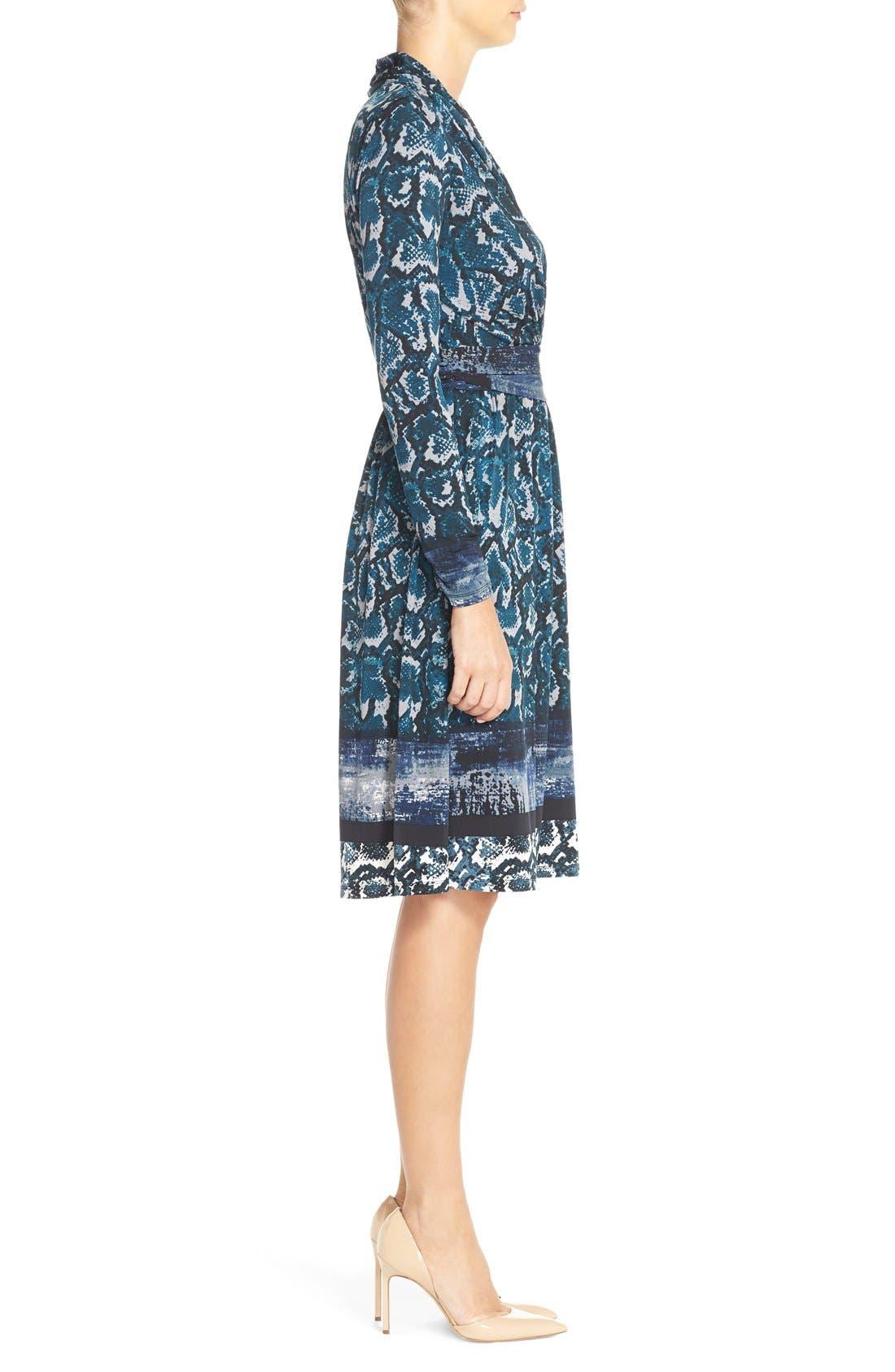 Print Jersey Faux Wrap Dress,                             Alternate thumbnail 3, color,                             Mallard