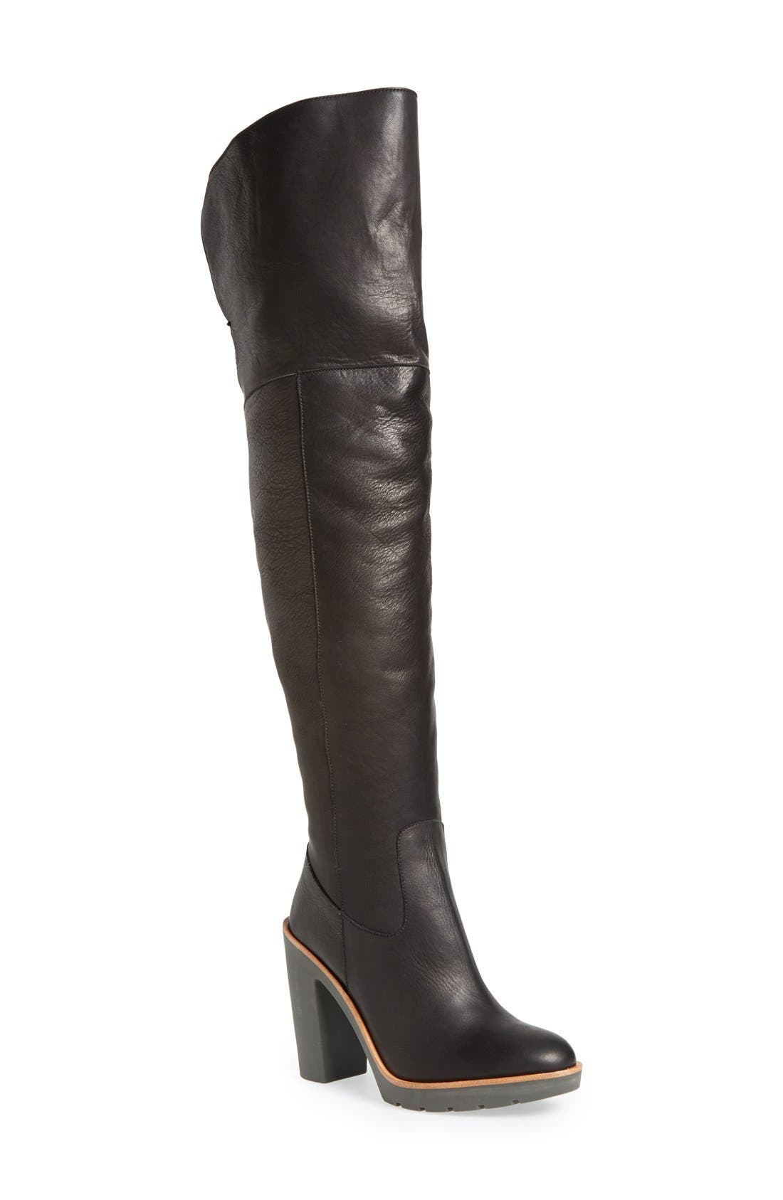 Main Image - kate spade new york 'gabby' genuine shearling lined over the knee boot (Women)