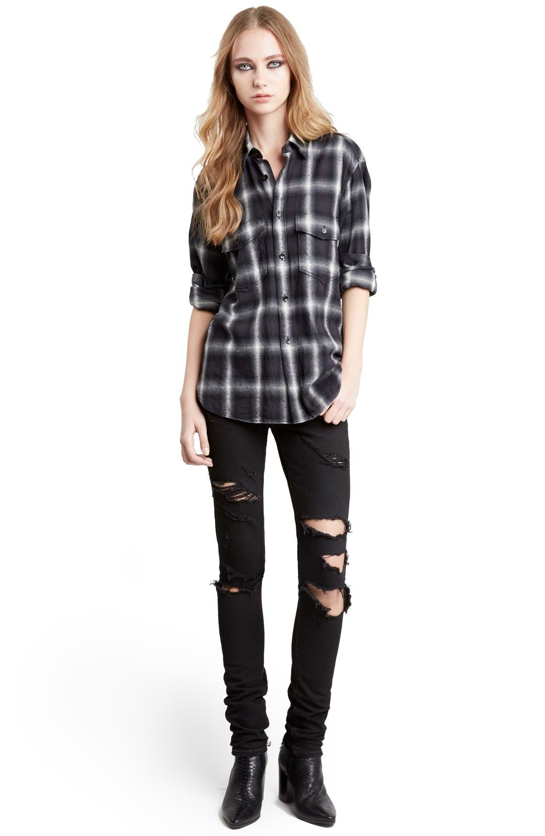 Main Image - Saint Laurent Oversize Check Flannel Shirt