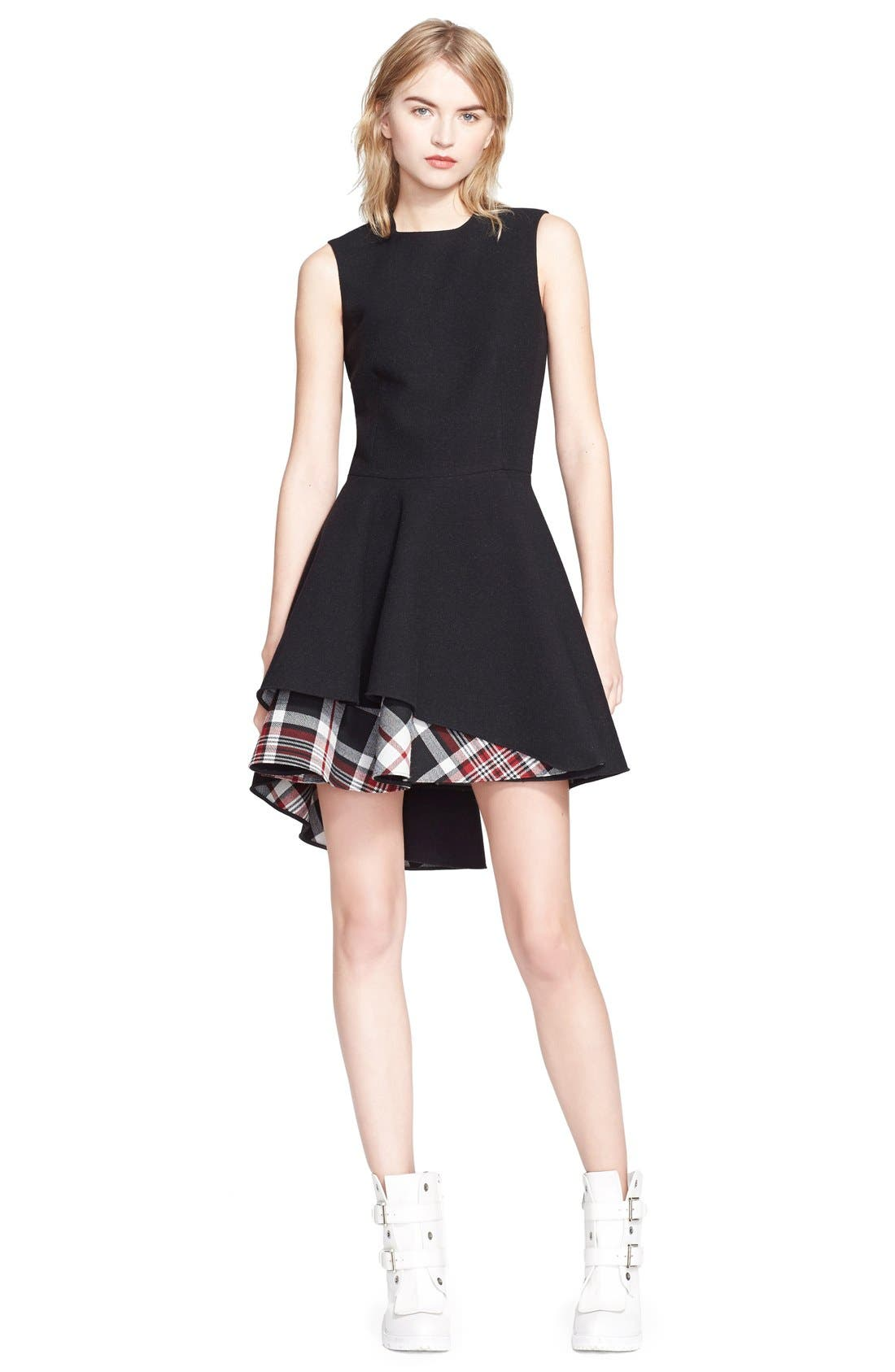 Alternate Image 1 Selected - Alexander McQueen Plaid Hem Flared Dress