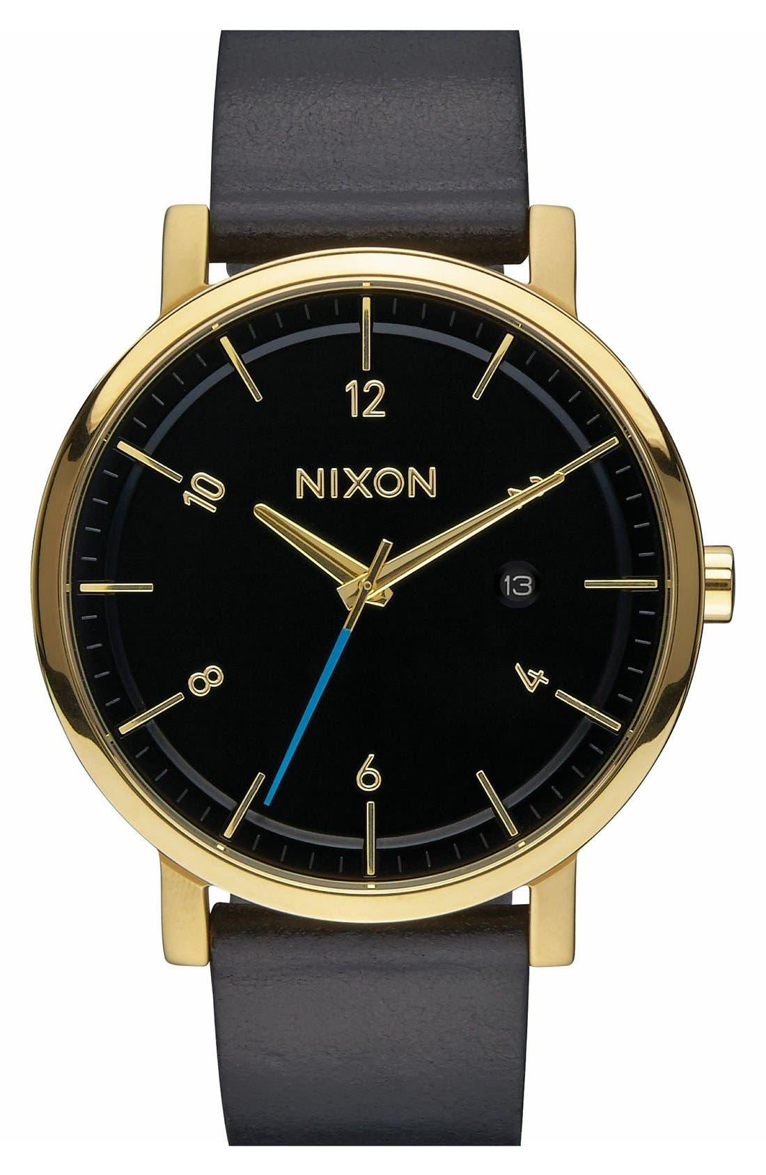 'Rollo' Leather Strap Watch, 42mm,                         Main,                         color, Black/ Black