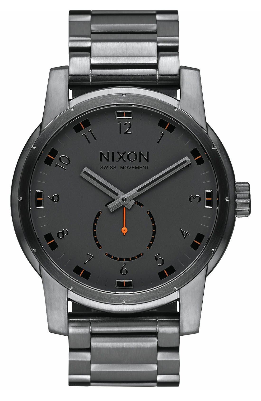 Nixon 'Patriot' Round Bracelet Watch, 45mm