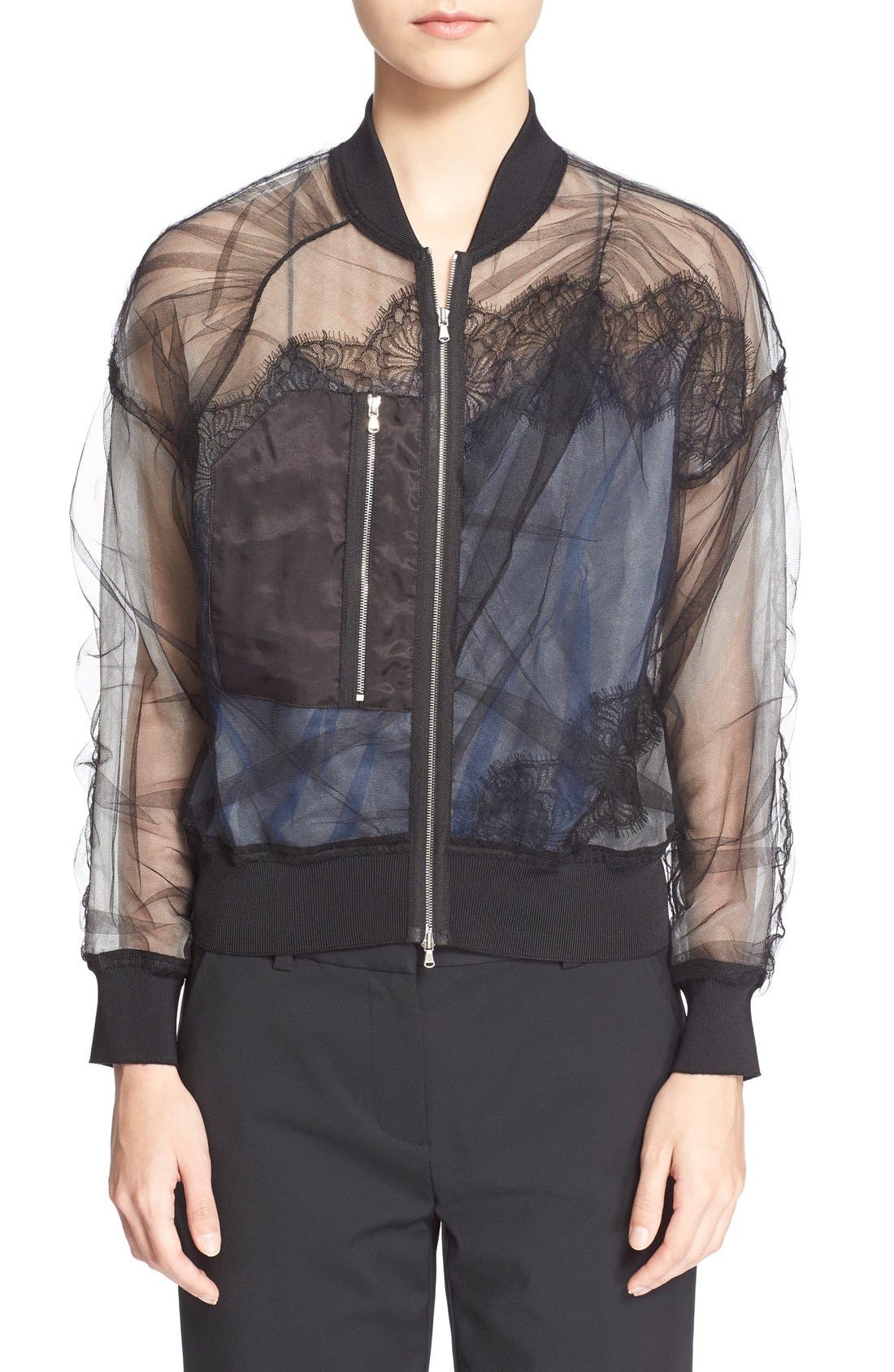 Alternate Image 1 Selected - 3.1 Phillip Lim Gathered Sheer Chiffon Bomber Jacket