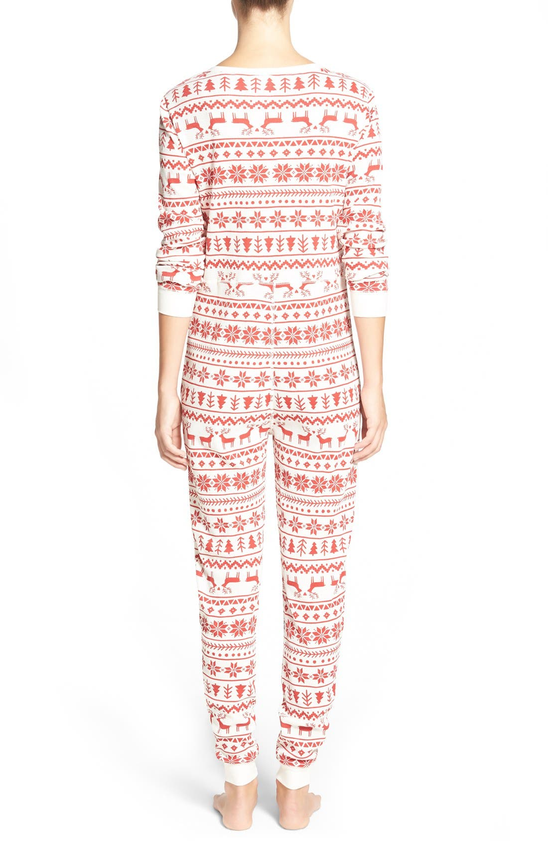Holiday Thermal One-Piece Pajamas,                             Alternate thumbnail 2, color,                             Red Beauty Fairisle Sketch
