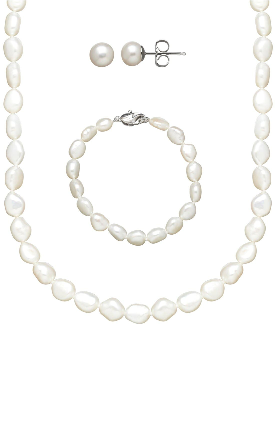 Alternate Image 1 Selected - HONORA Freshwater Pearl Necklace, Bracelet & Earrings (Girls)