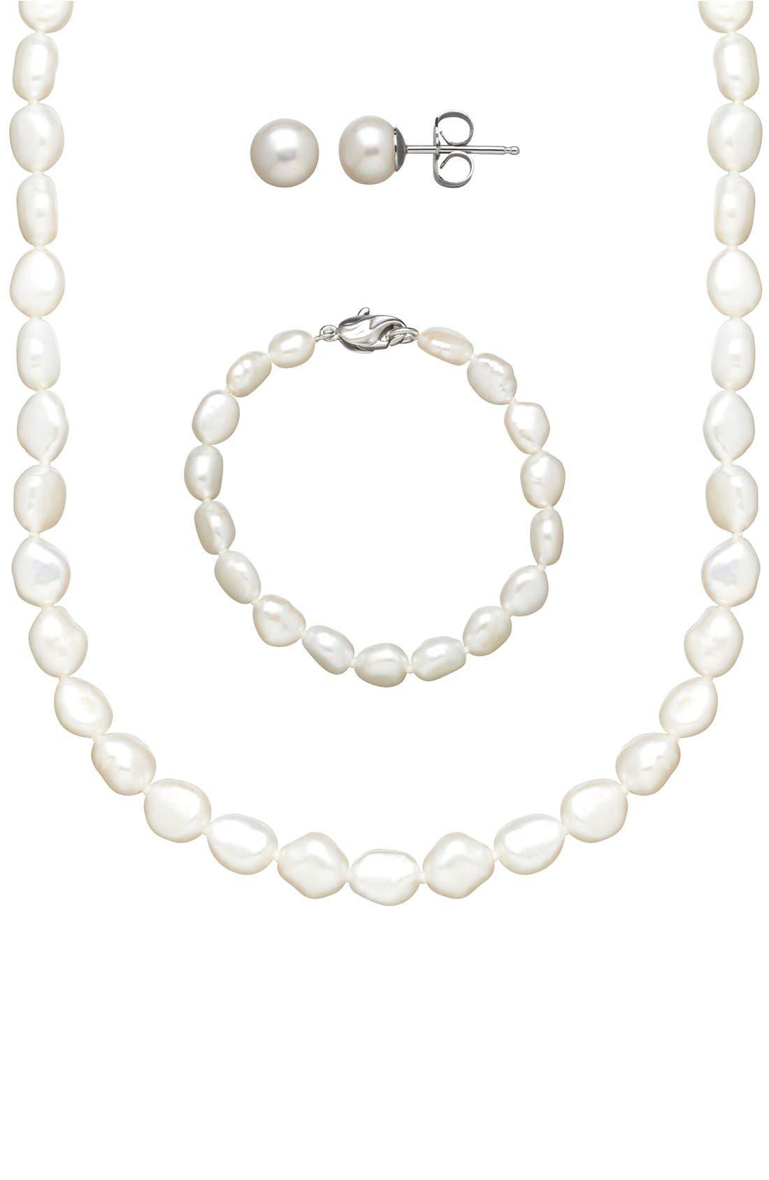 Freshwater Pearl Necklace, Bracelet & Earrings,                         Main,                         color, White