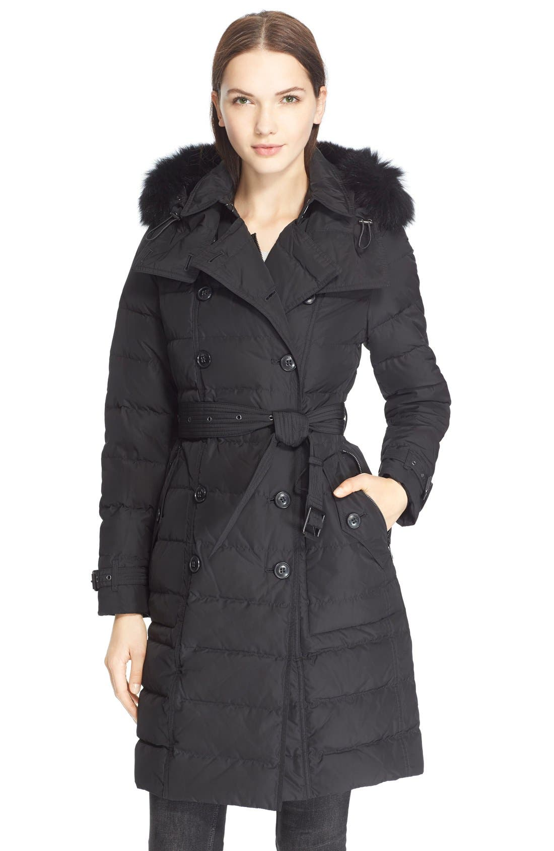 Main Image - Burberry Brit 'Allerdale' Genuine Fox Fur Trim Hooded Quilted Down Coat