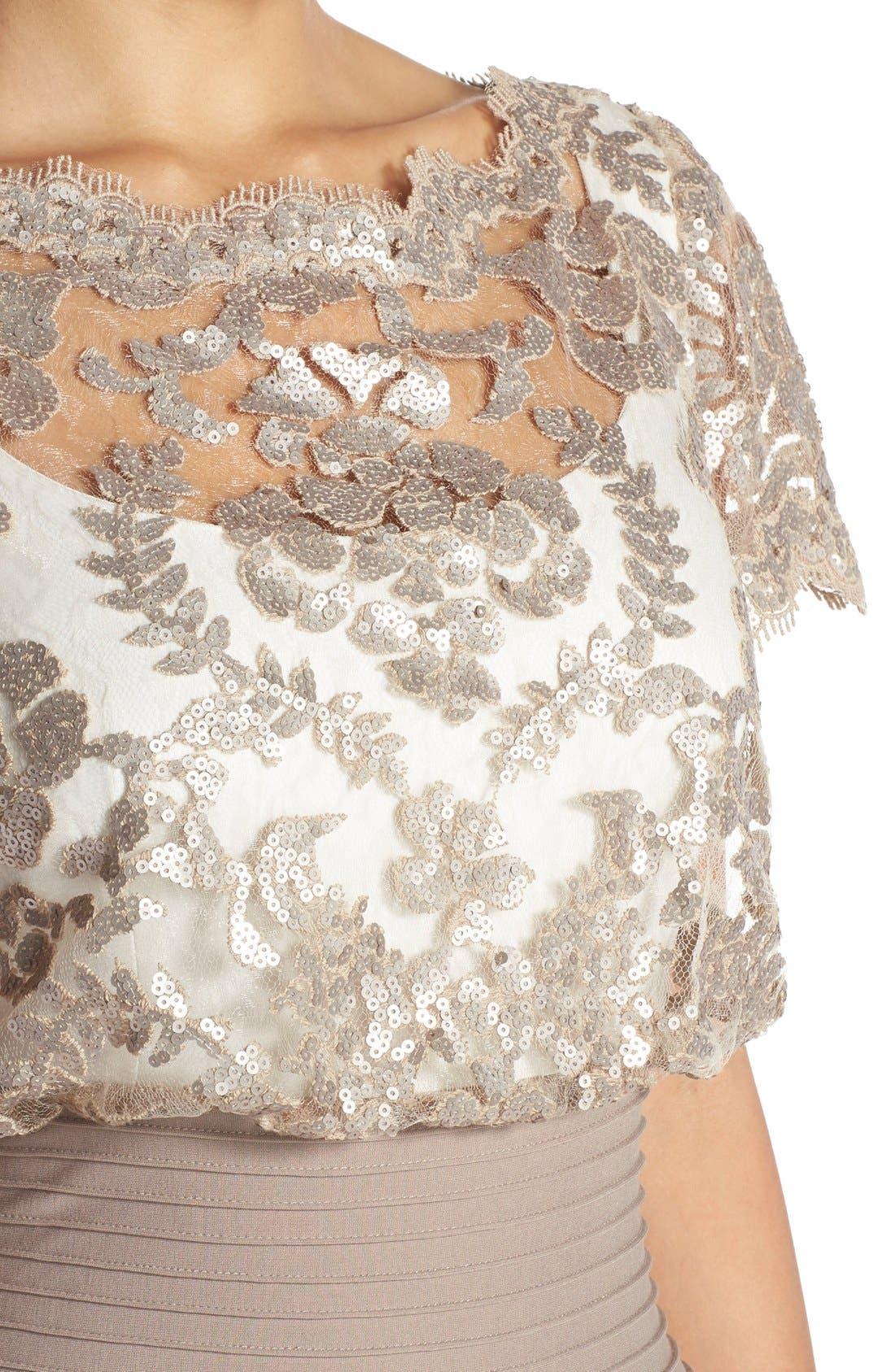 Alternate Image 4  - Tadashi Shoji Sequin Lace Blouson Gown (Regular & Petite)