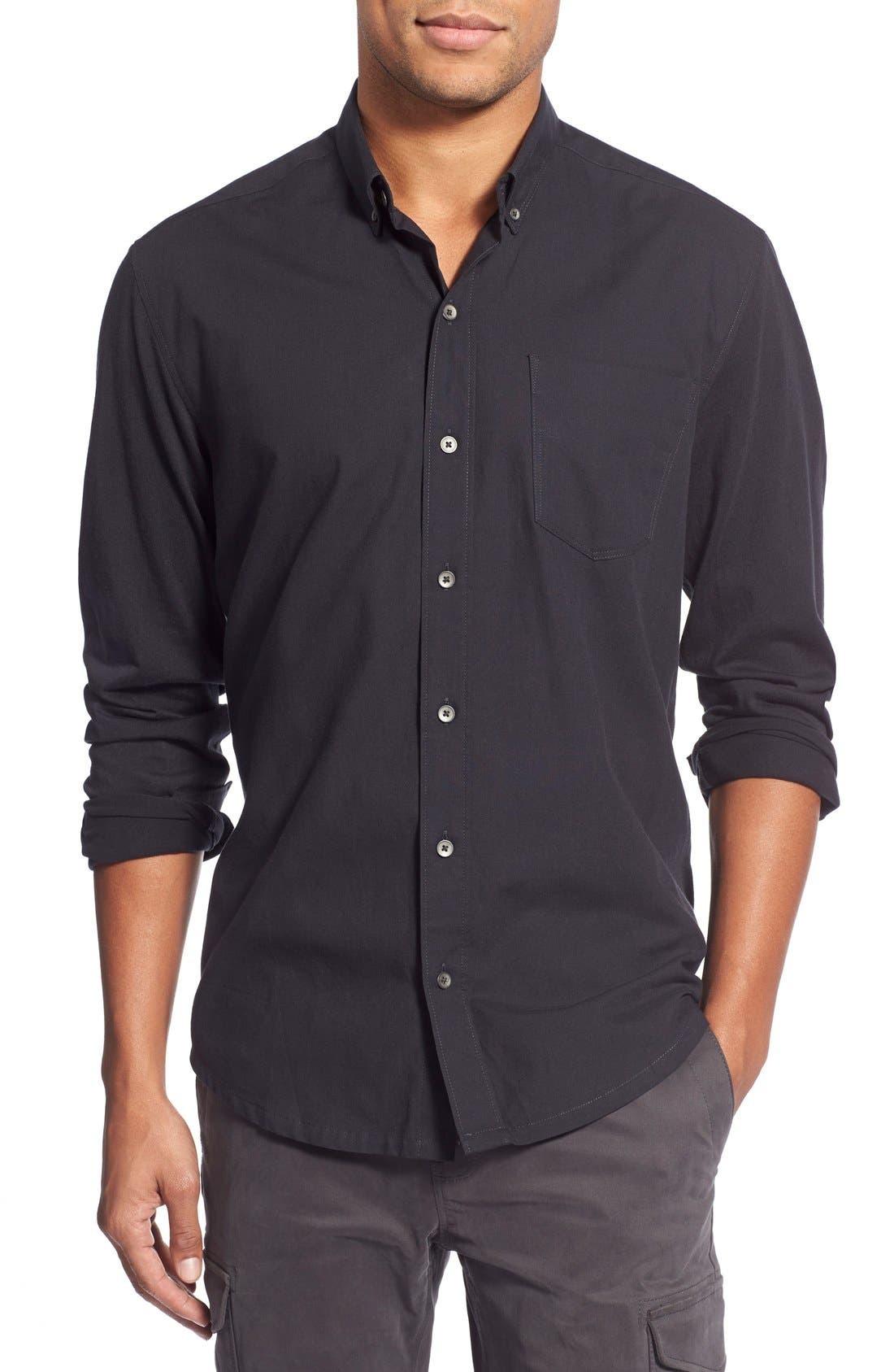 'Reworkd' Slim Fit Solid Mixed Media Sport Shirt,                         Main,                         color, Black