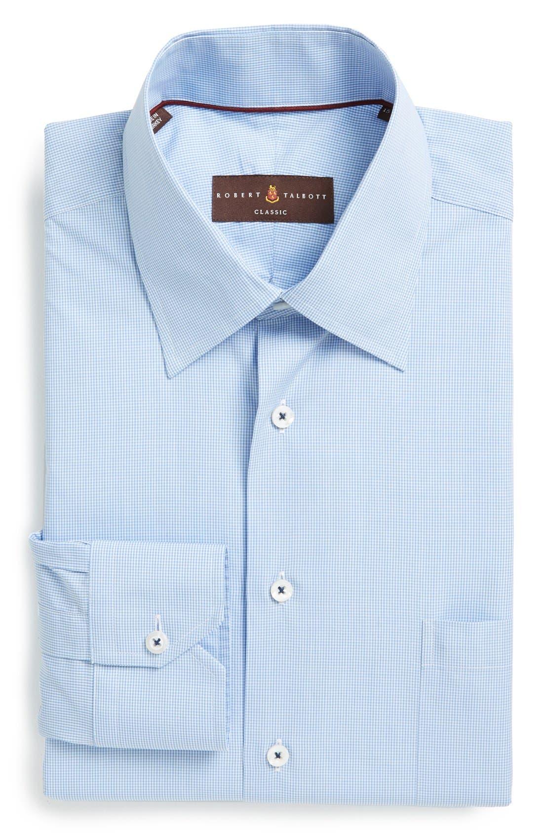 Classic Fit Micro Gingham Dress Shirt,                             Main thumbnail 1, color,                             Blue