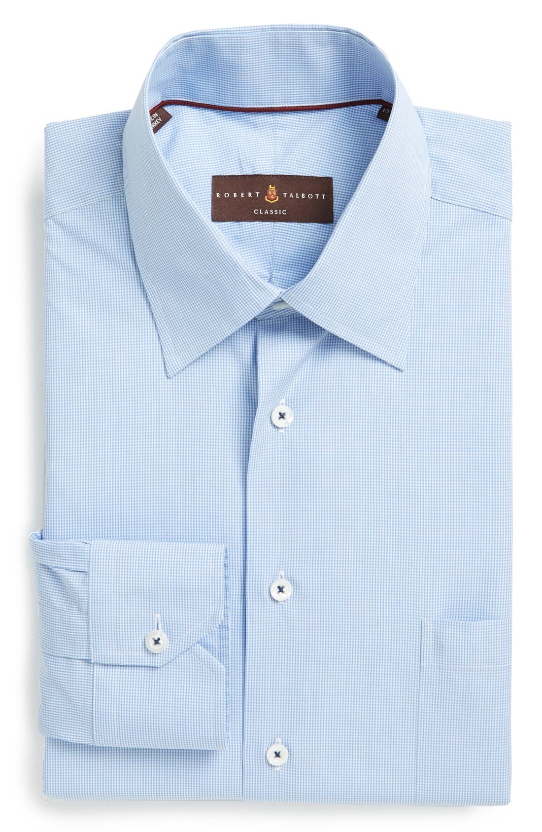 Classic Fit Micro Gingham Dress Shirt,                         Main,                         color, Blue