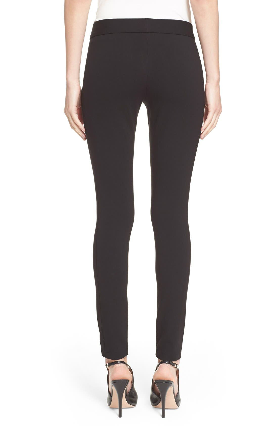 Armani Collezioni Double Face Jersey Leggings,                             Alternate thumbnail 2, color,                             Black