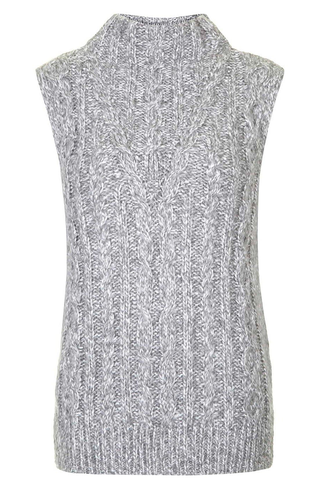 Alternate Image 4  - Topshop Cable Knit Tabard Sweater