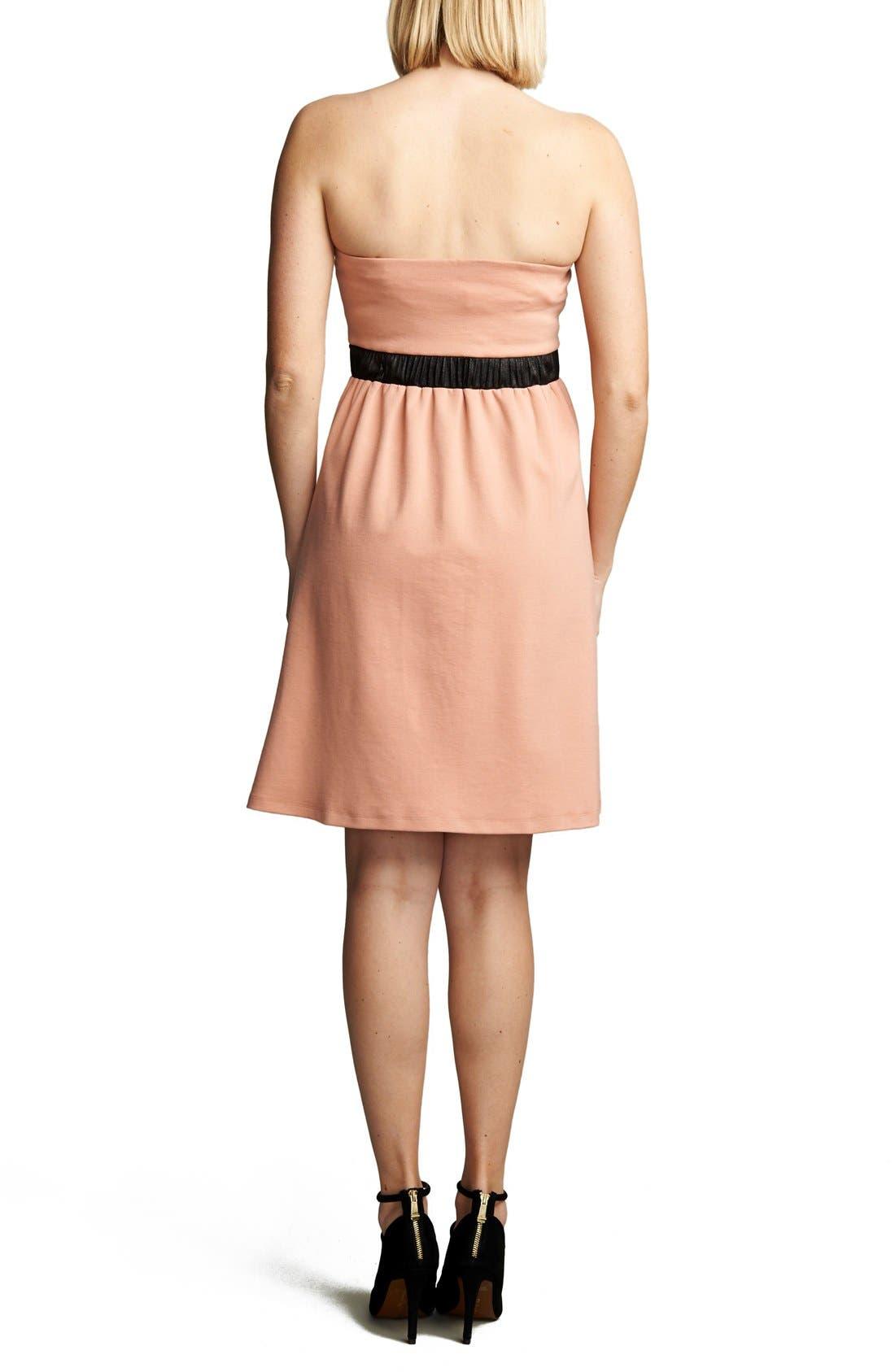 Strapless Maternity Dress,                             Alternate thumbnail 2, color,                             Blush/ Black