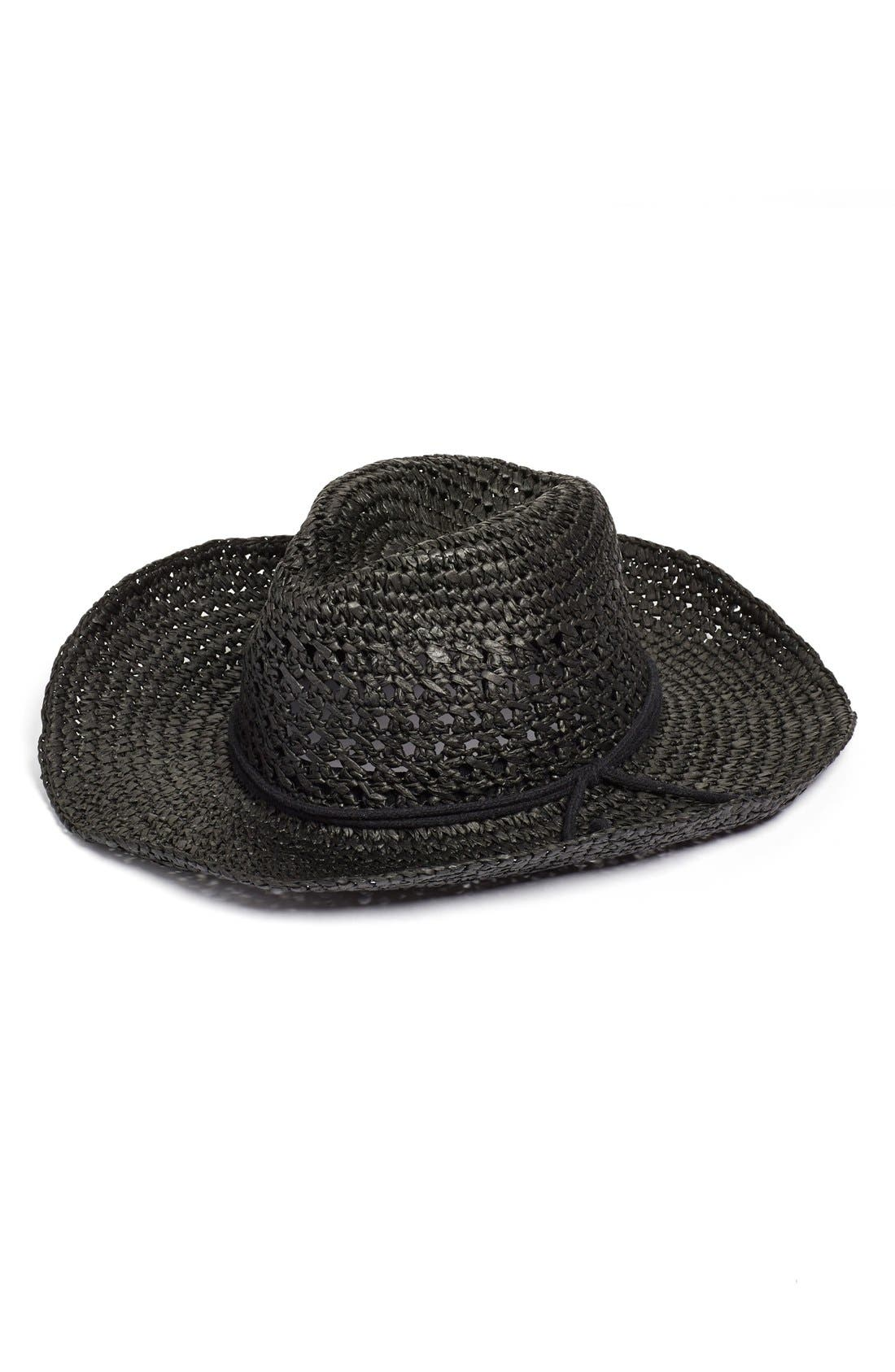Alternate Image 1 Selected - Hinge 'Layla' Open Weave Straw Cowboy Hat