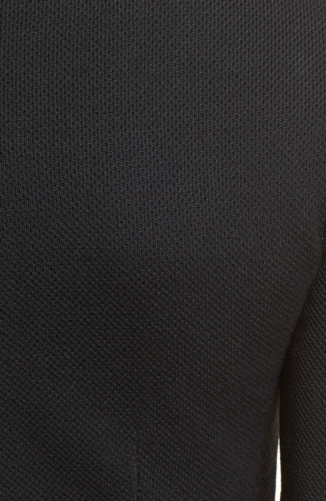 Peplum Milano Piqué Knit Dress,                             Alternate thumbnail 3, color,                             Caviar