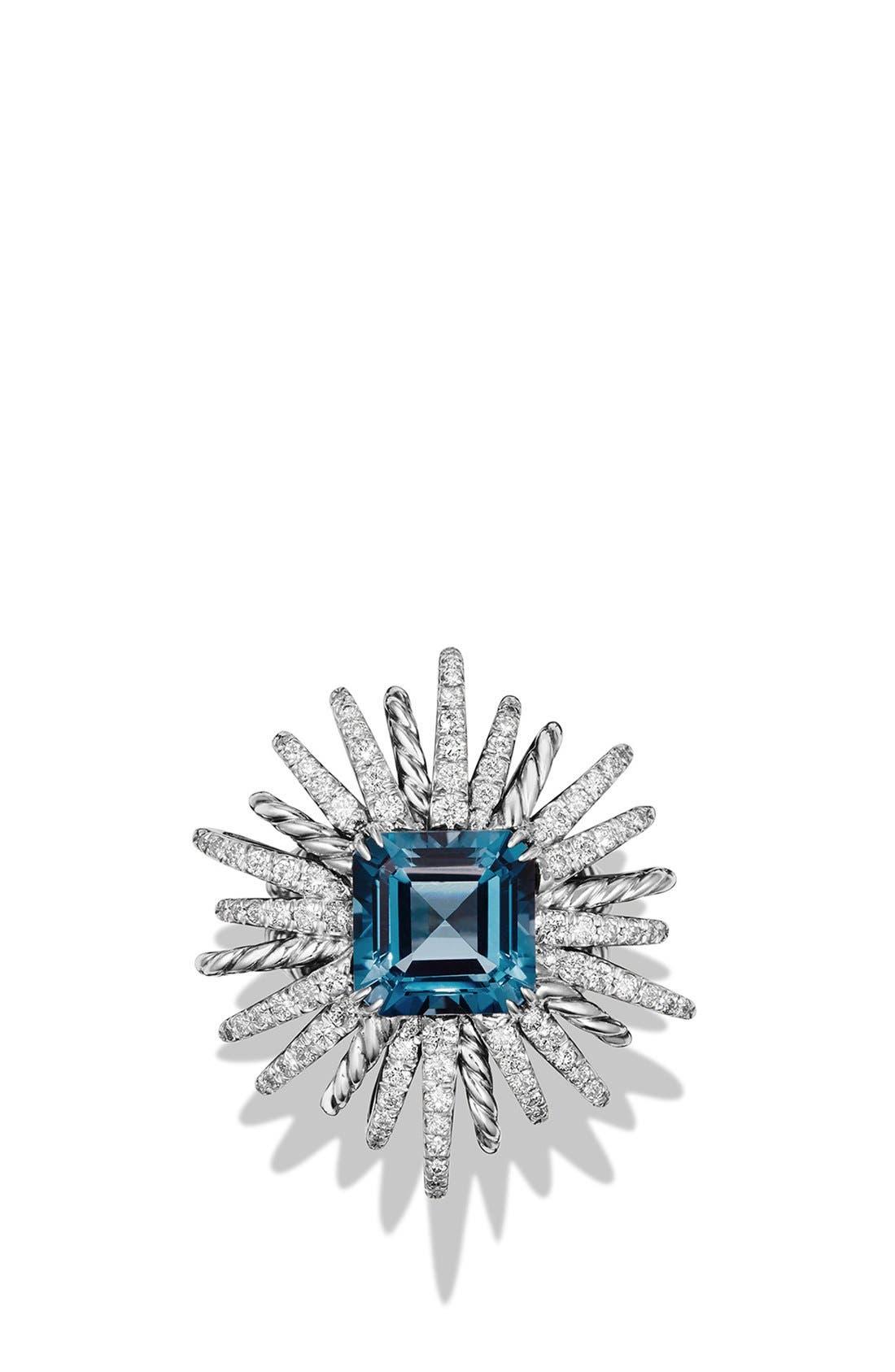 'Starburst' Ring with Semiprecious Stone and Diamonds,                             Alternate thumbnail 2, color,                             Hampton Blue Topaz