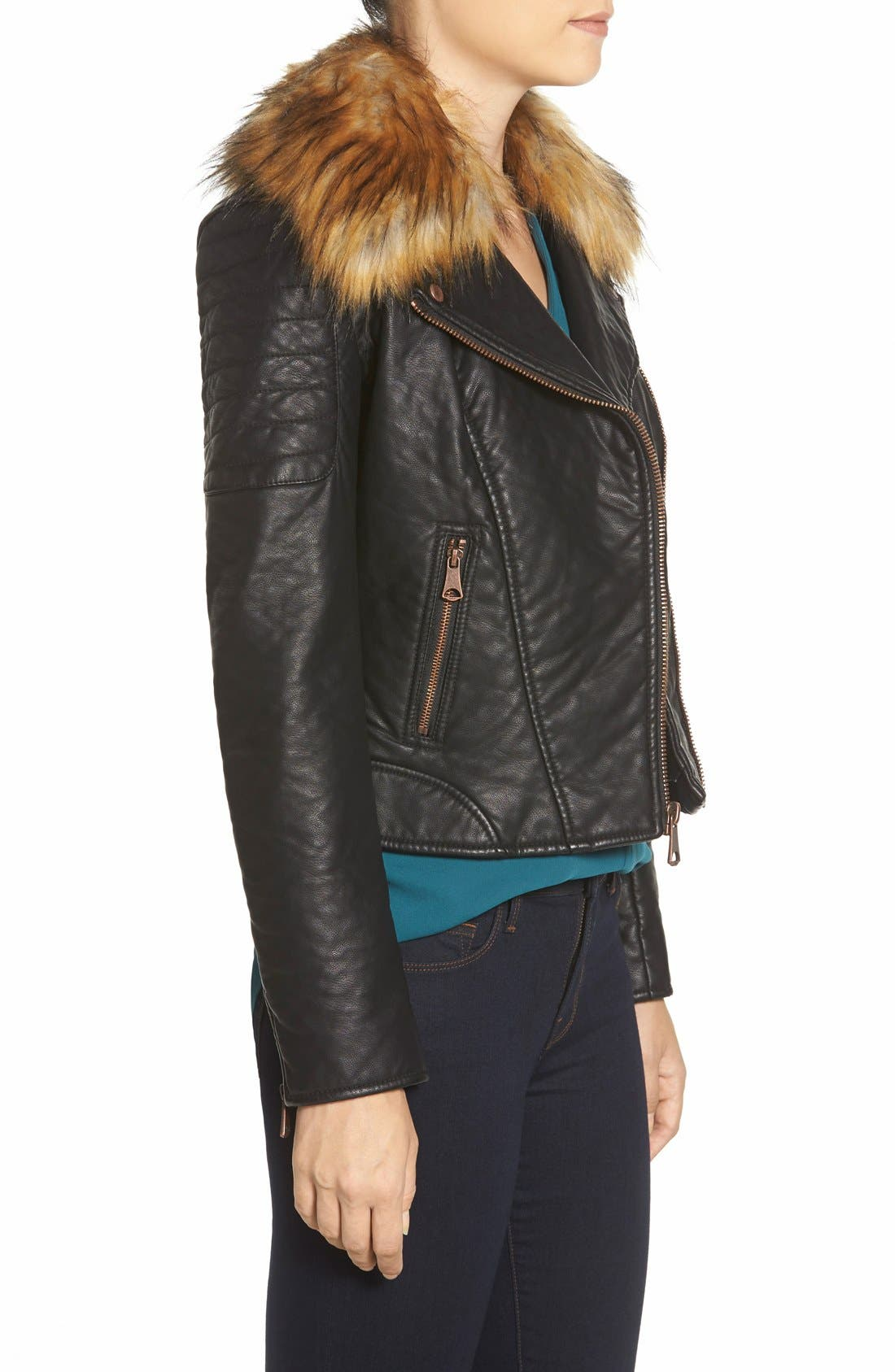 Alternate Image 3  - Marc New York 'Genna' Faux Fur Collar Faux Leather Moto Jacket