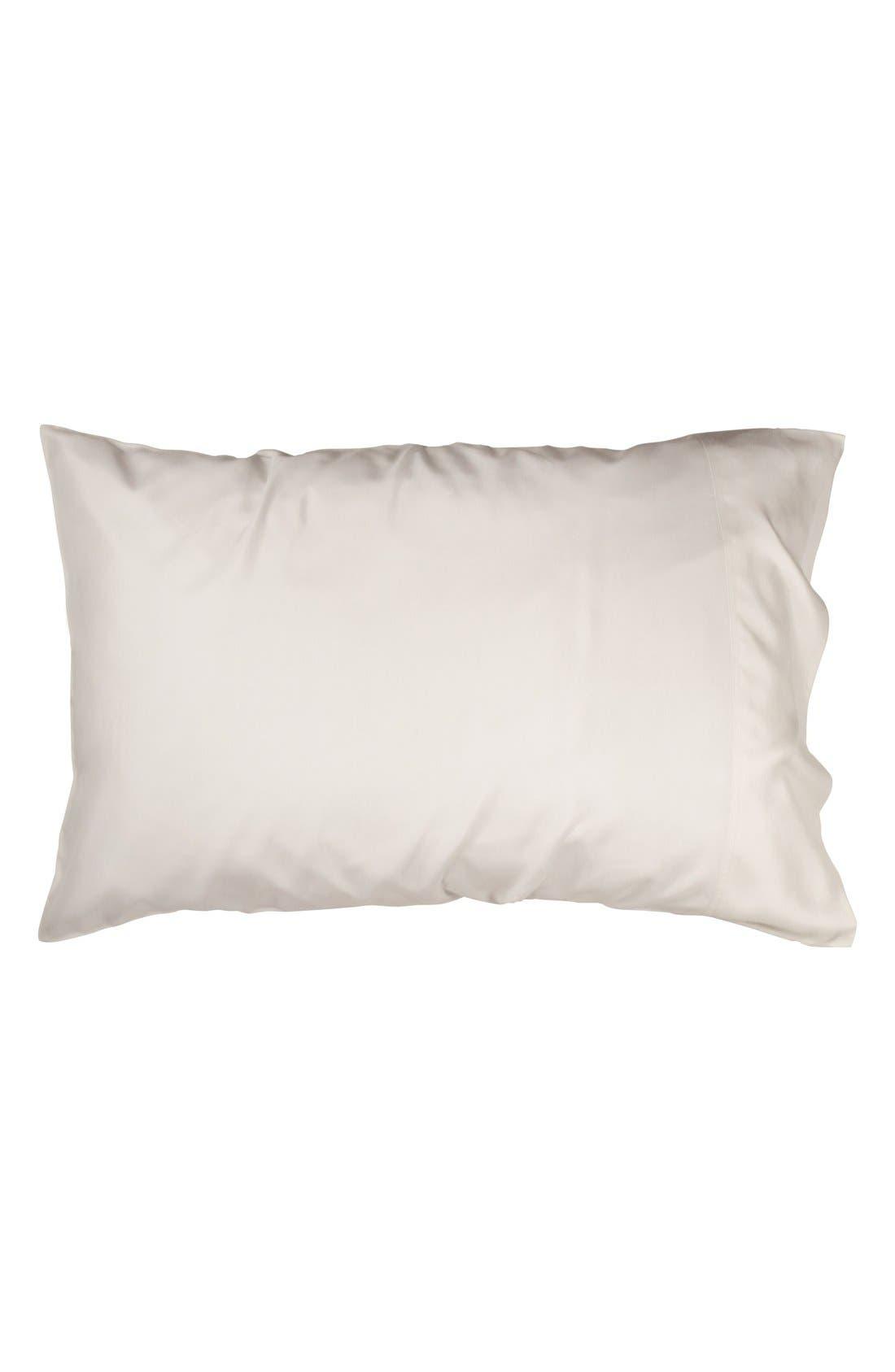 Donna Karan Collection 'Silk Essentials' Habutai Silk Pillowcase,                             Alternate thumbnail 2, color,                             Platinum