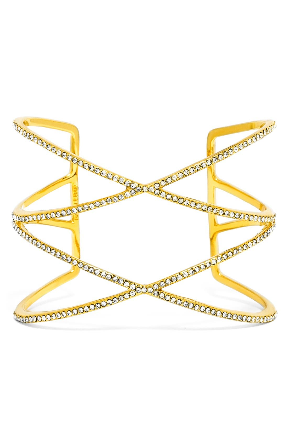 'Double Helix' Pavé Cuff,                         Main,                         color, Clear/ Gold