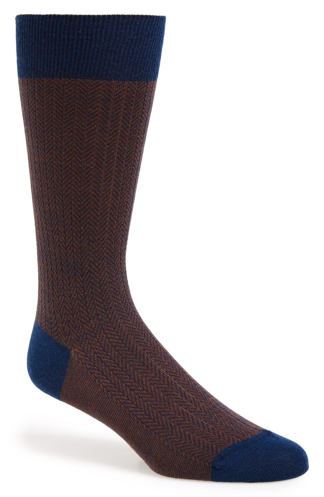 '5911' Mid-Calf Dress Socks,                             Main thumbnail 1, color,                             Dark Blue