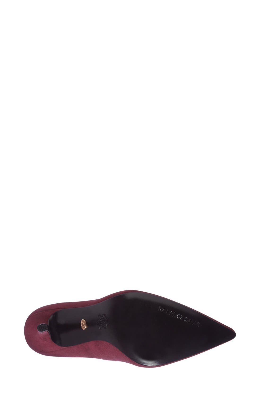 Charles David 'Sway II' Patent Leather Pump,                             Alternate thumbnail 4, color,                             Burgundy Suede