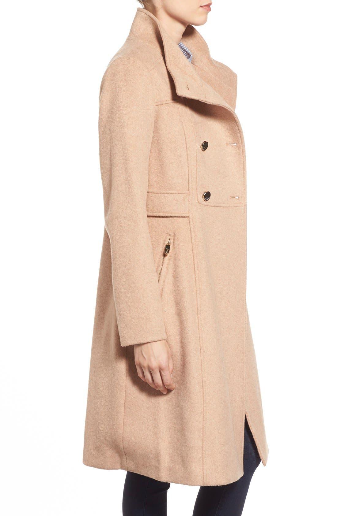 Wool Blend Long Military Coat,                             Alternate thumbnail 3, color,                             Camel