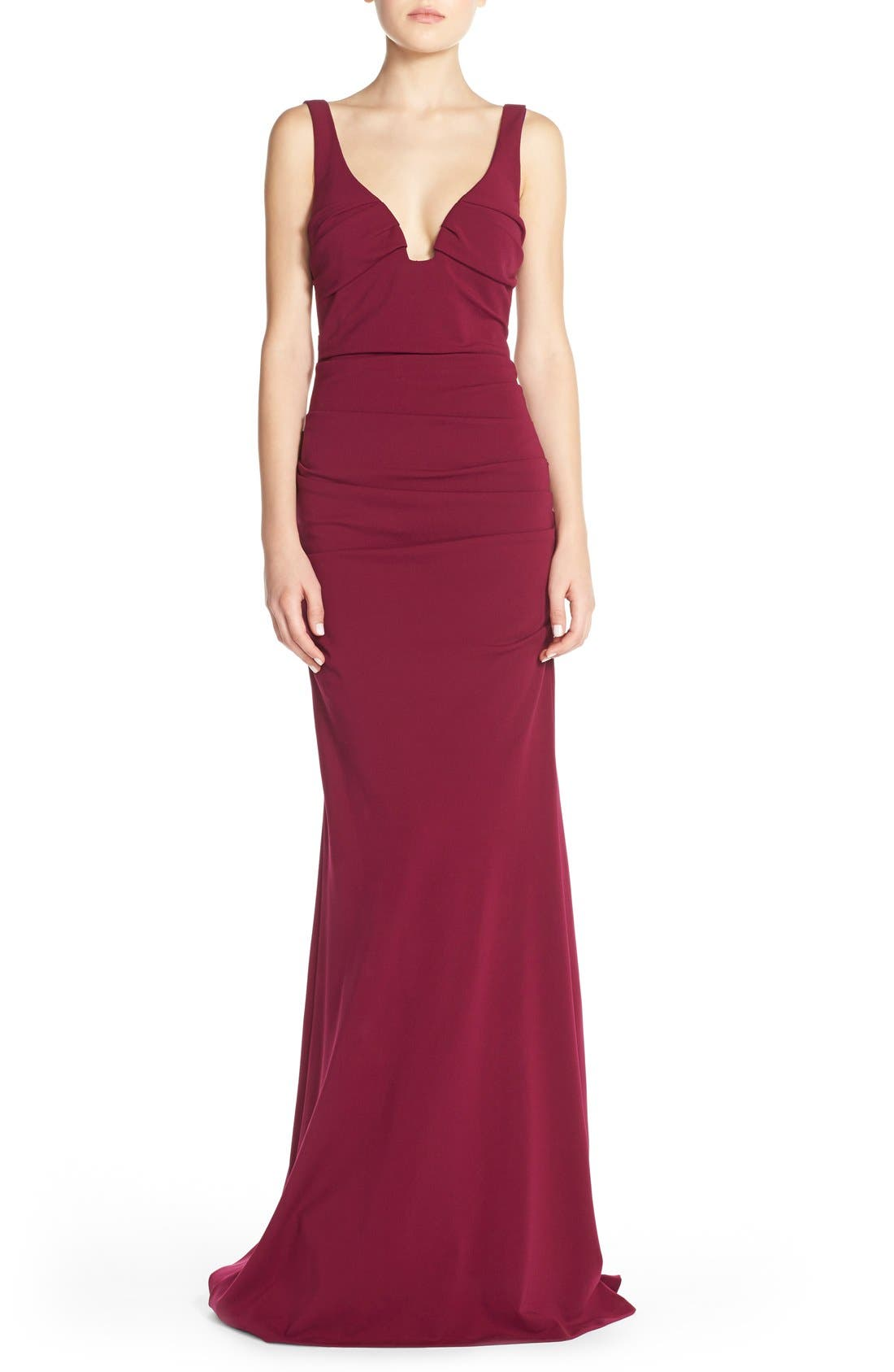 Main Image - Nicole Miller Ruched Jersey Gown