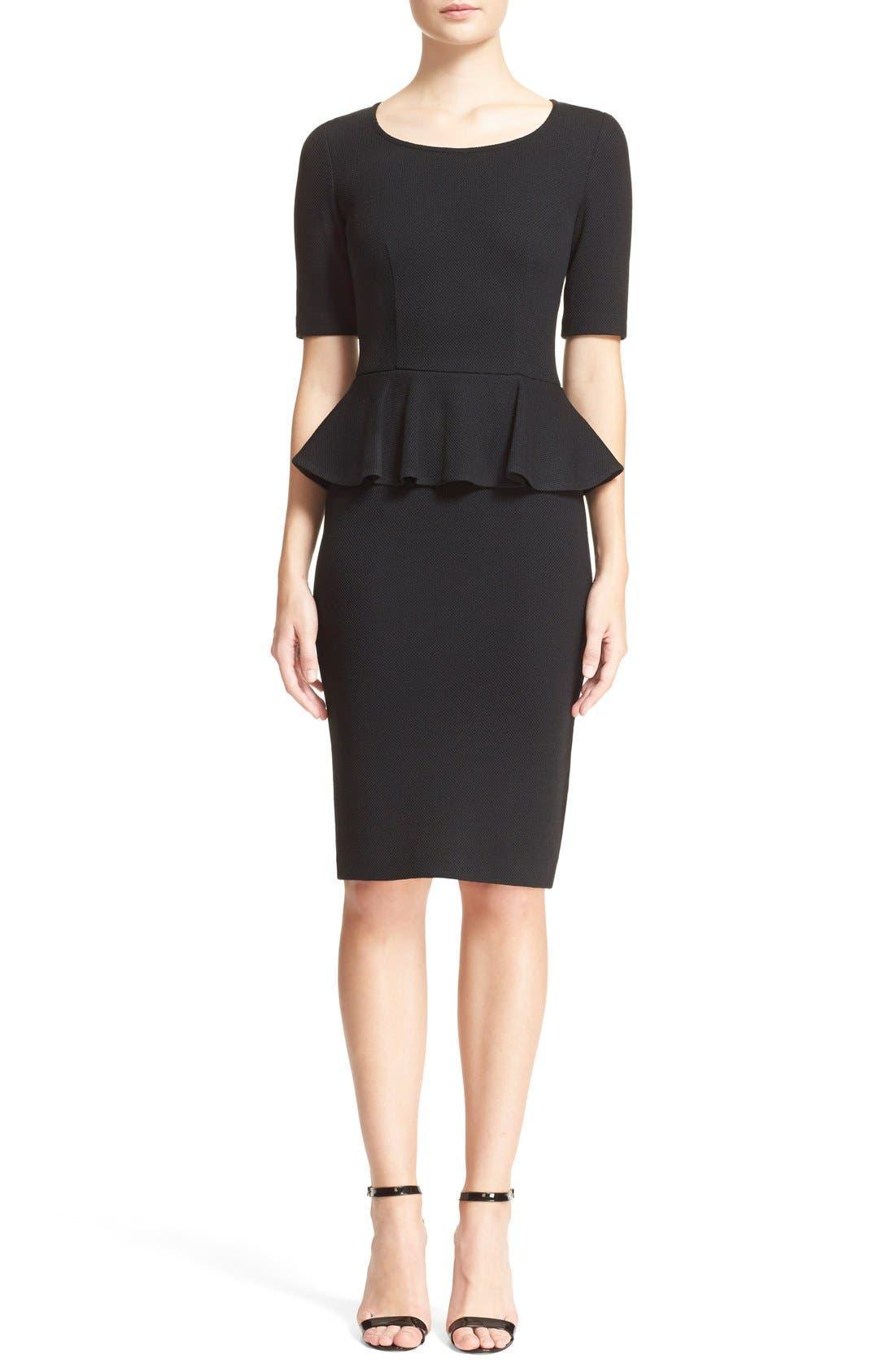 Peplum Milano Piqué Knit Dress,                             Main thumbnail 1, color,                             Caviar