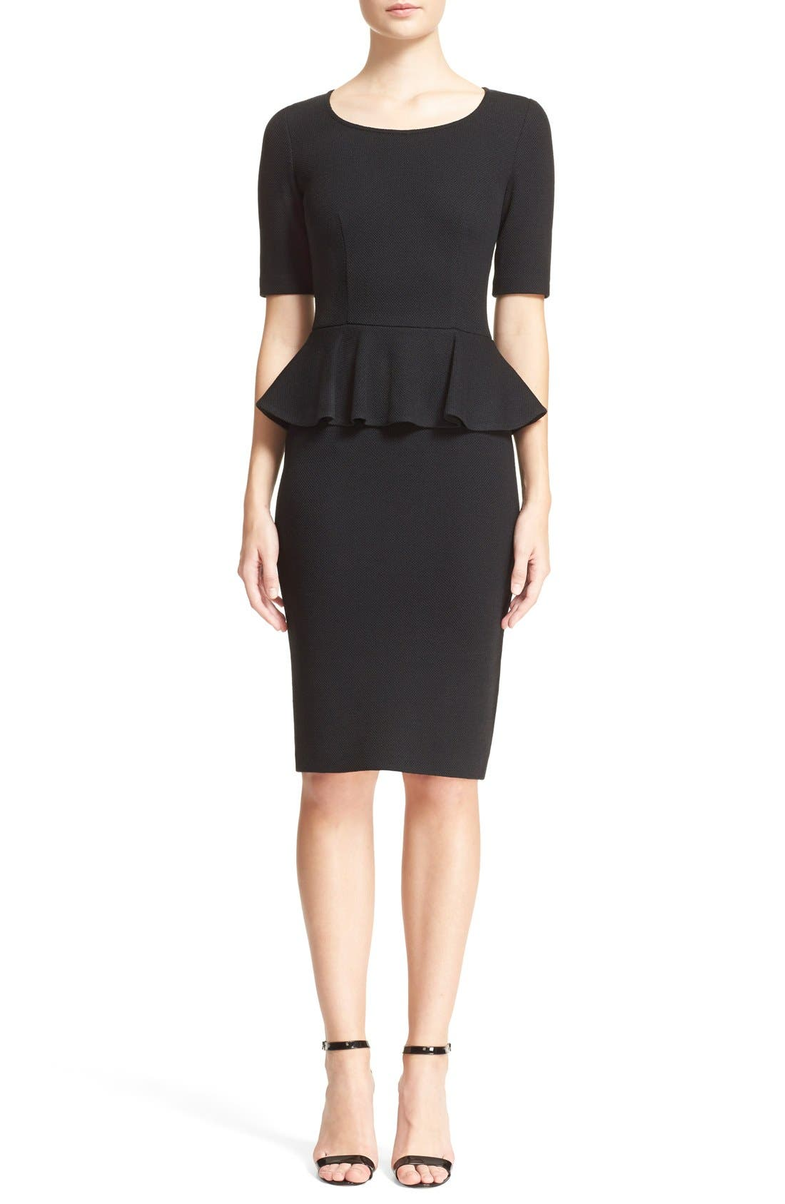 Main Image - St. John Collection Peplum Milano Piqué Knit Dress