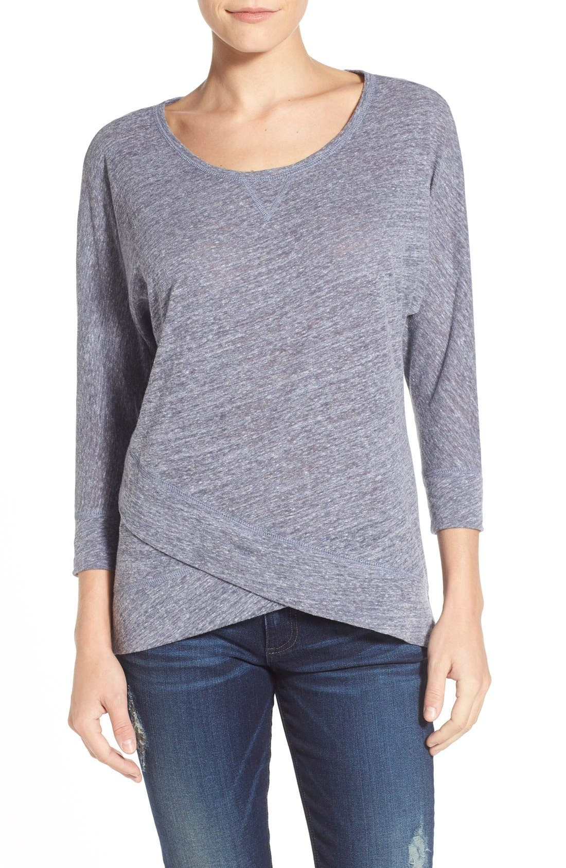 Crossover Front Tee,                         Main,                         color, Heather Navy Evening