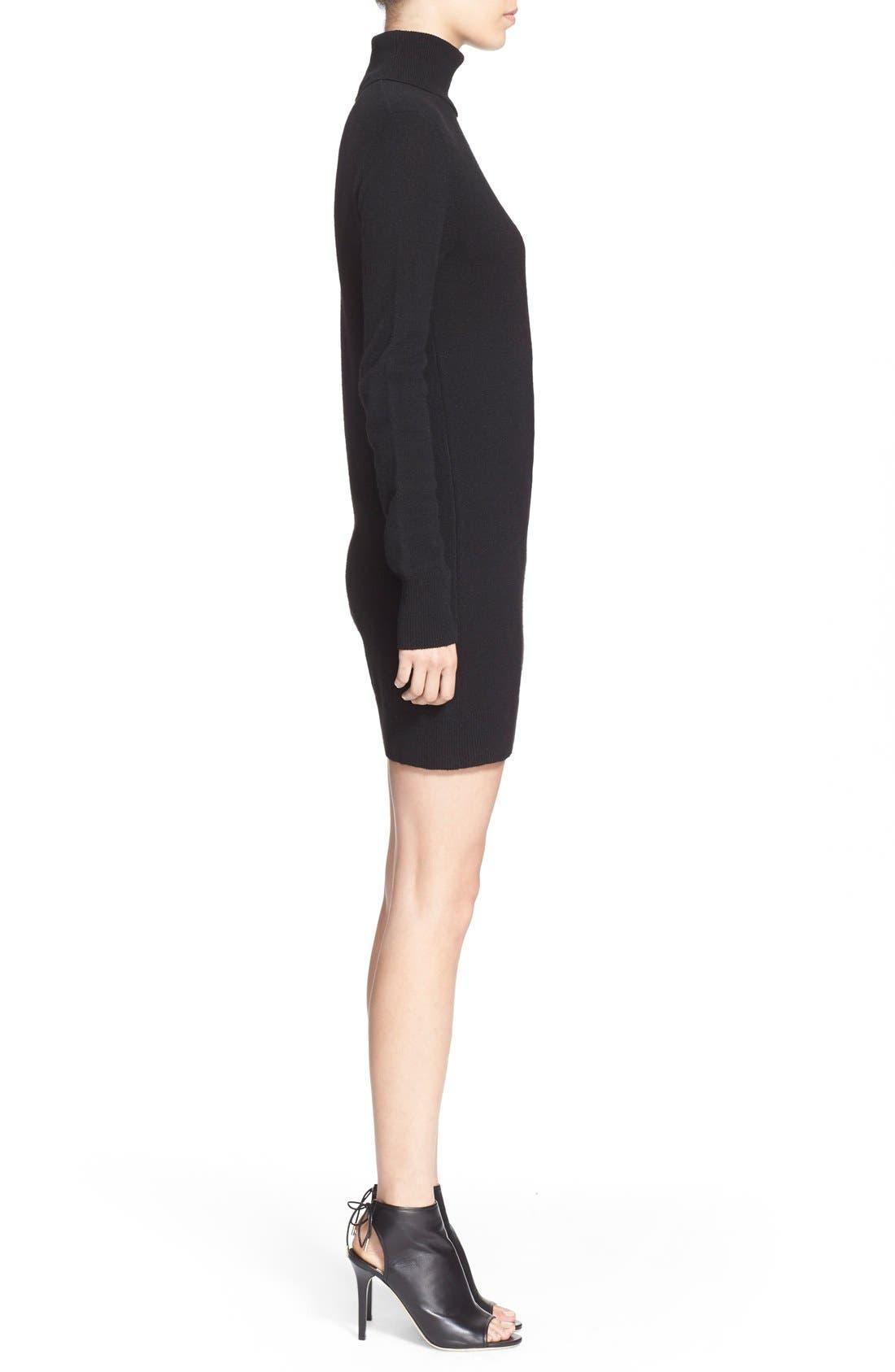 'Oscar' Turtleneck Sweater Dress,                             Alternate thumbnail 3, color,                             Black