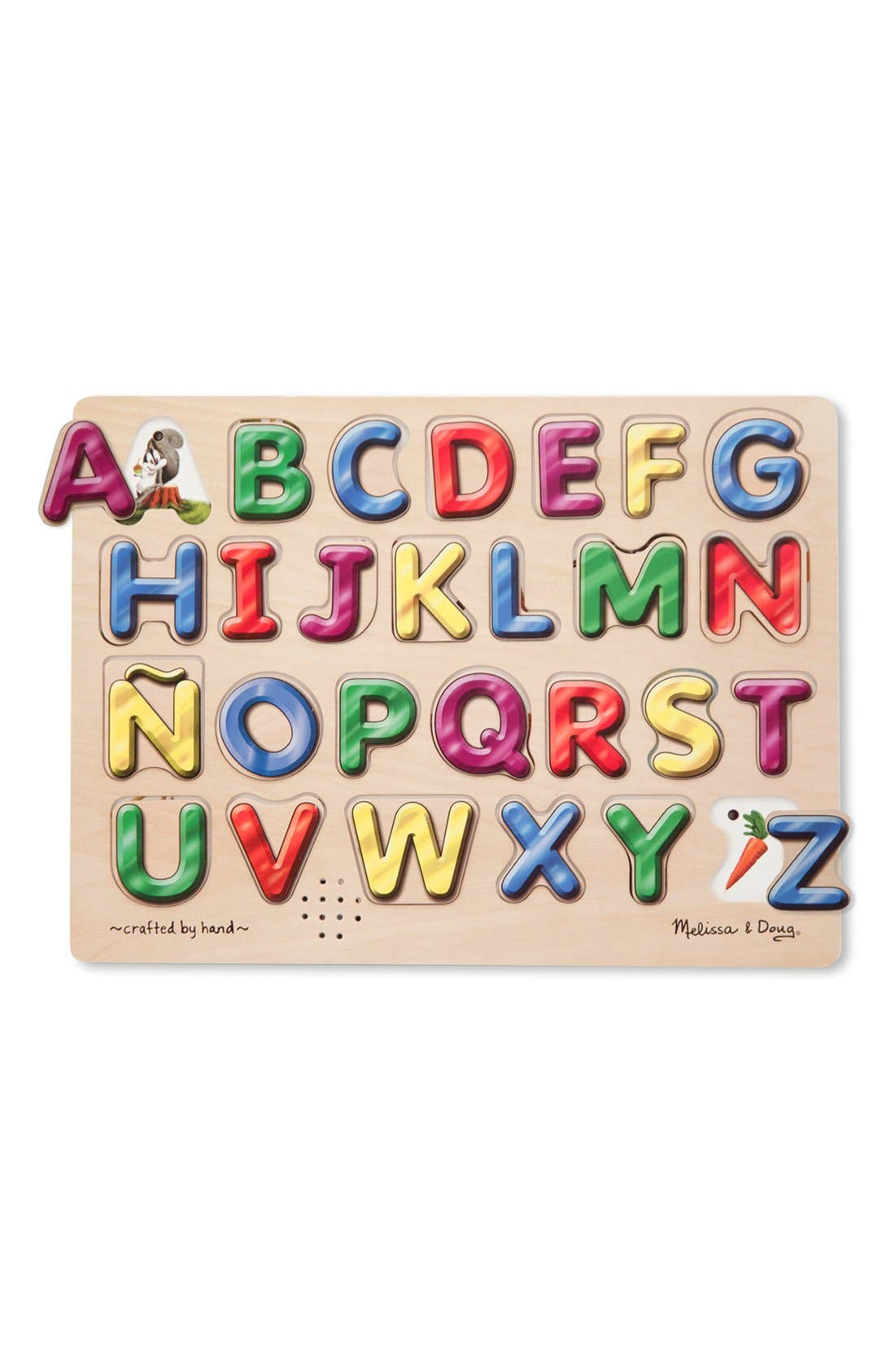 Spanish Alphabet Wooden Sound Puzzle,                             Main thumbnail 1, color,                             Brown