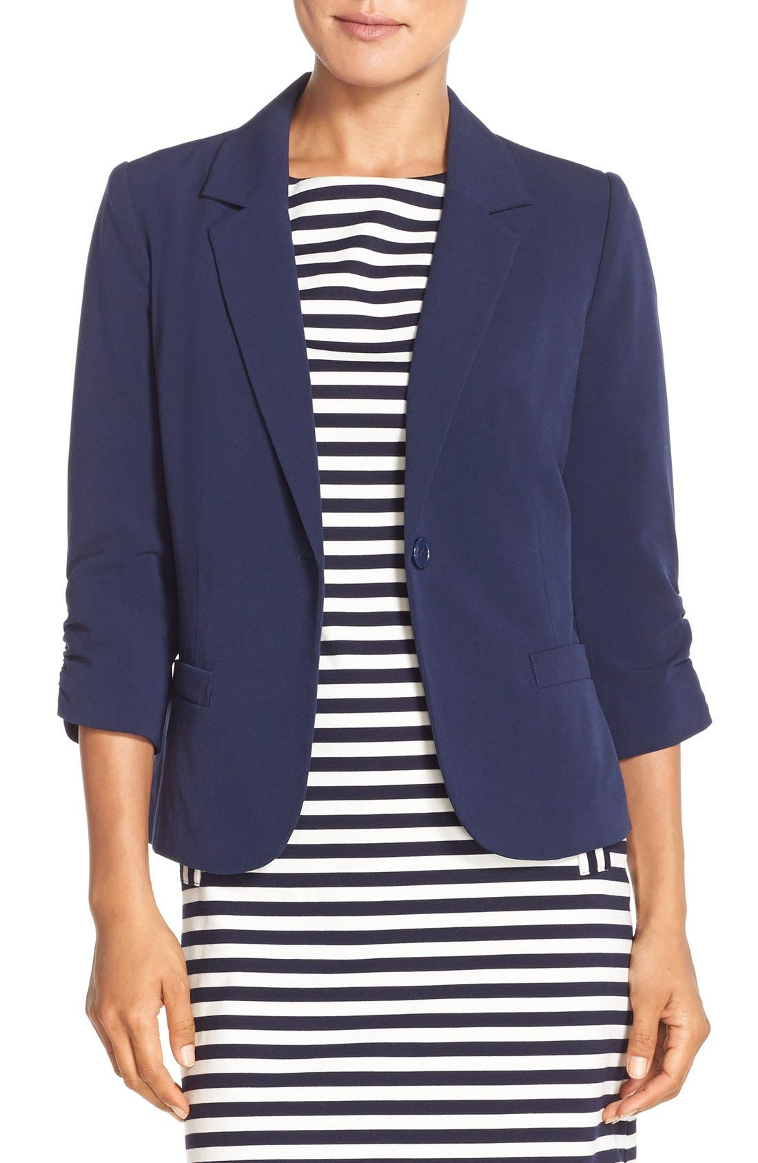 Alternate Image 1 Selected - Eliza J Ruched Sleeve Blazer