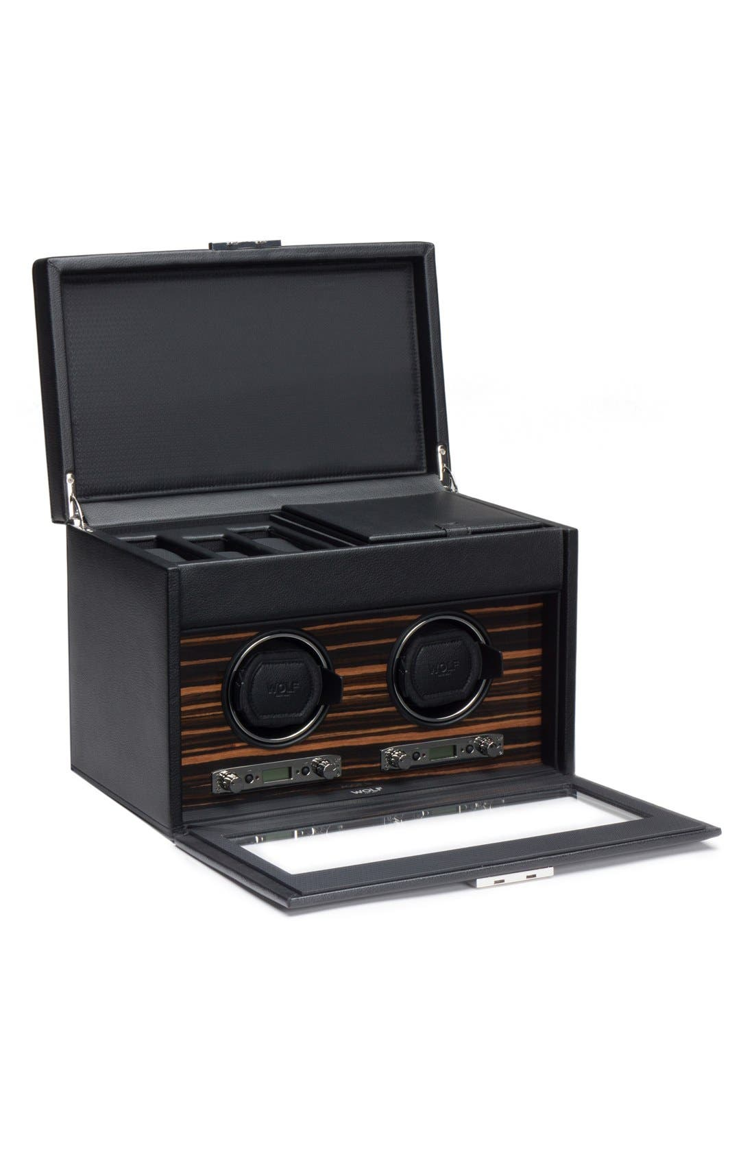 Roadster Double Watch Winder & Case,                         Main,                         color, Black