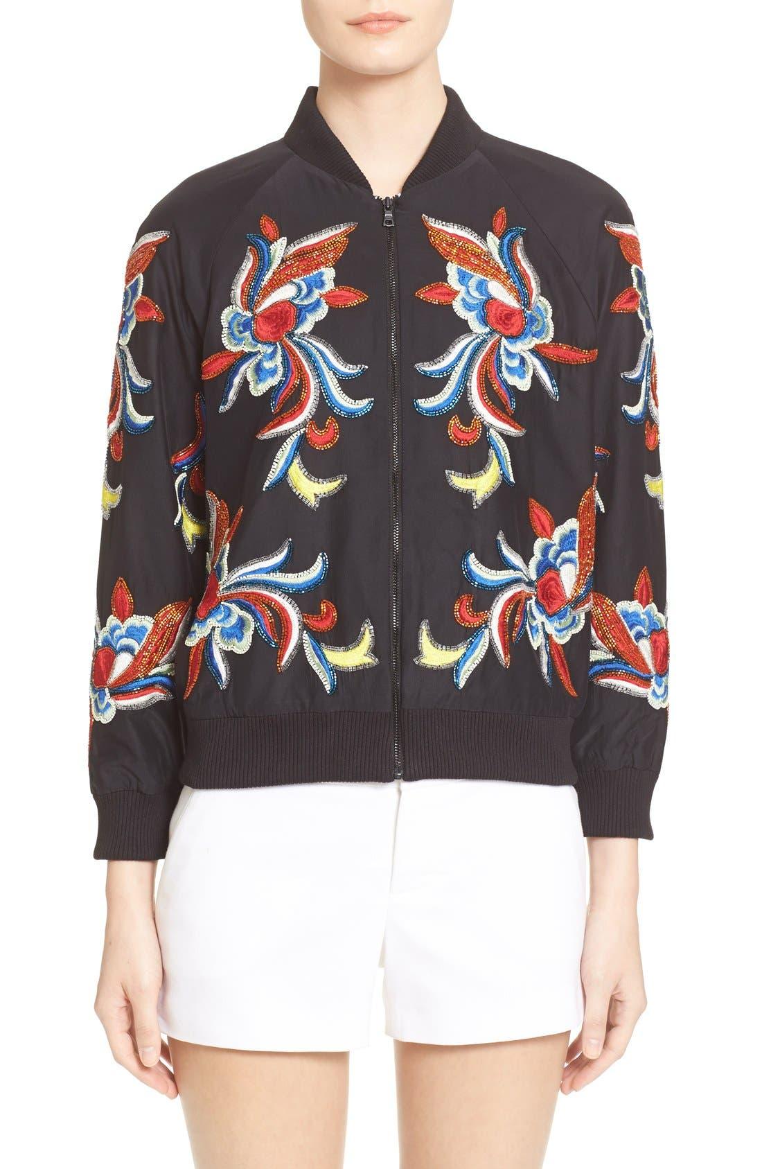 Main Image - Alice + Olivia 'Felisa' Embellished Silk Bomber Jacket