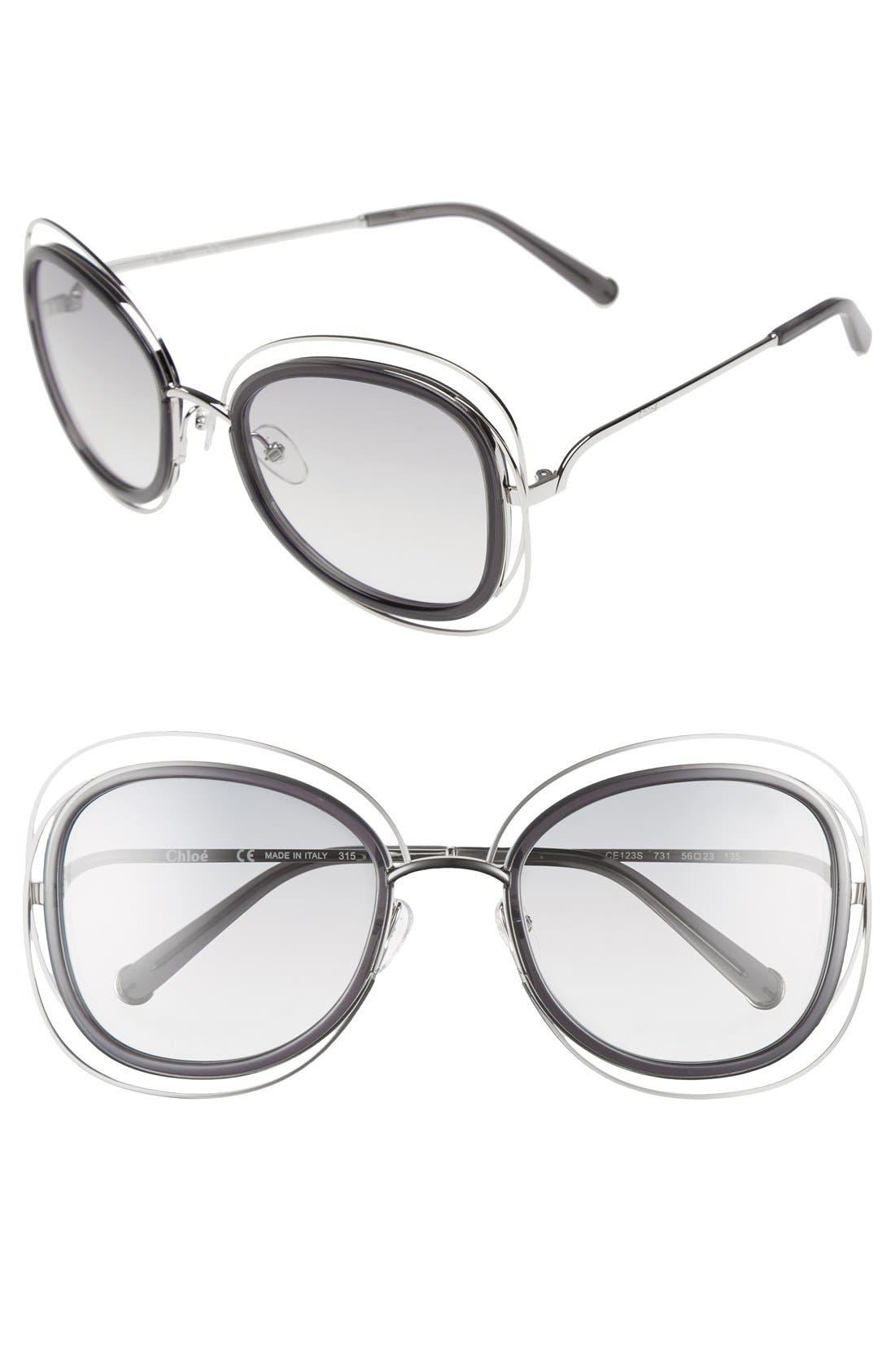 CHLOÉ Carlina 56mm Gradient Sunglasses