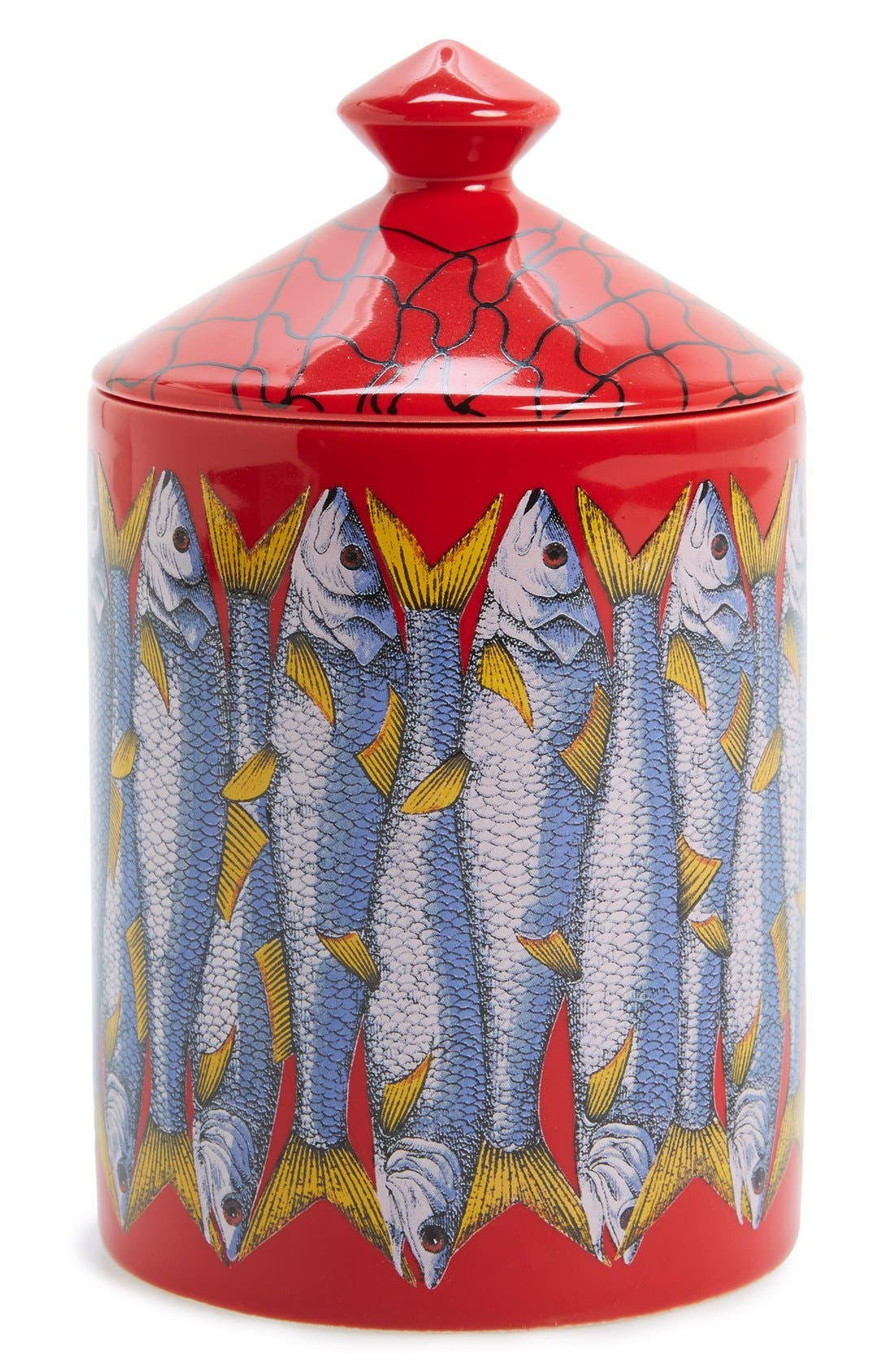 Fornasetti 'Sardine Rosso' Lidded Candle